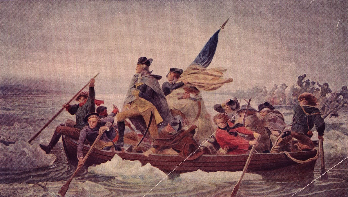 Illustration of General George Washington  crossing the Delaware to seek safety in Pennsylvania after defeat by the British.