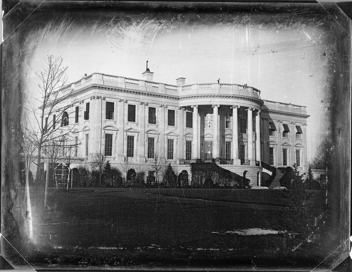 View of the south facade of the White House, Washington DC, mid 1840s.