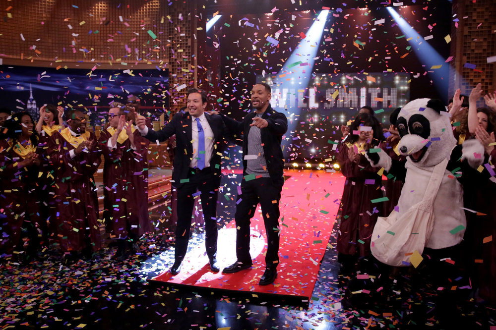 Jimmy Fallon celebrates with actor Will Smith on July 28, 2016.