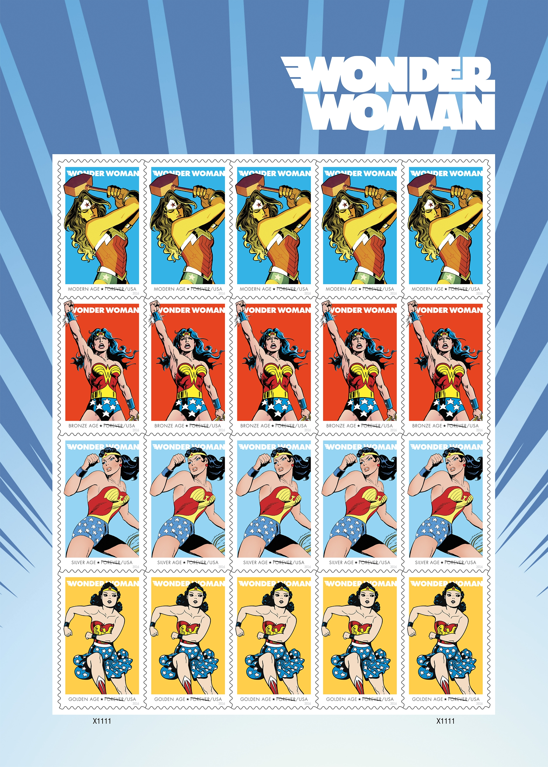 The U.S. Postal Service revealed its newest Wonder Woman stamps The U.S. Postal Service revealed its newest Wonder Woman stamps in honor of the superhero's 75th anniversary on July 21, 2016 in honor of the superhero's 75th anniversary.