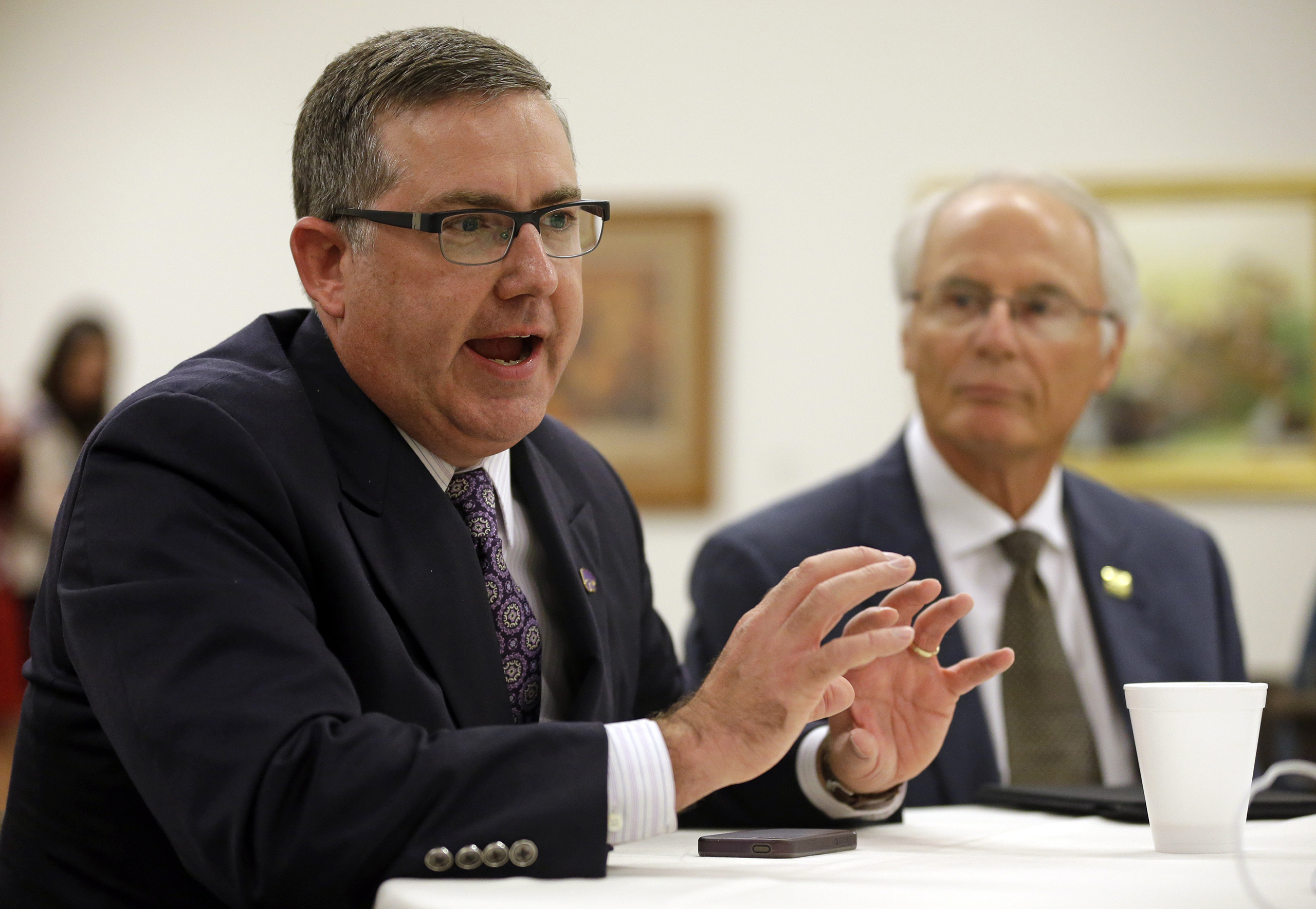 Wright State University president David R. Hopkins at NCAA headquarters in Indianapolis, Aug. 7, 2014.