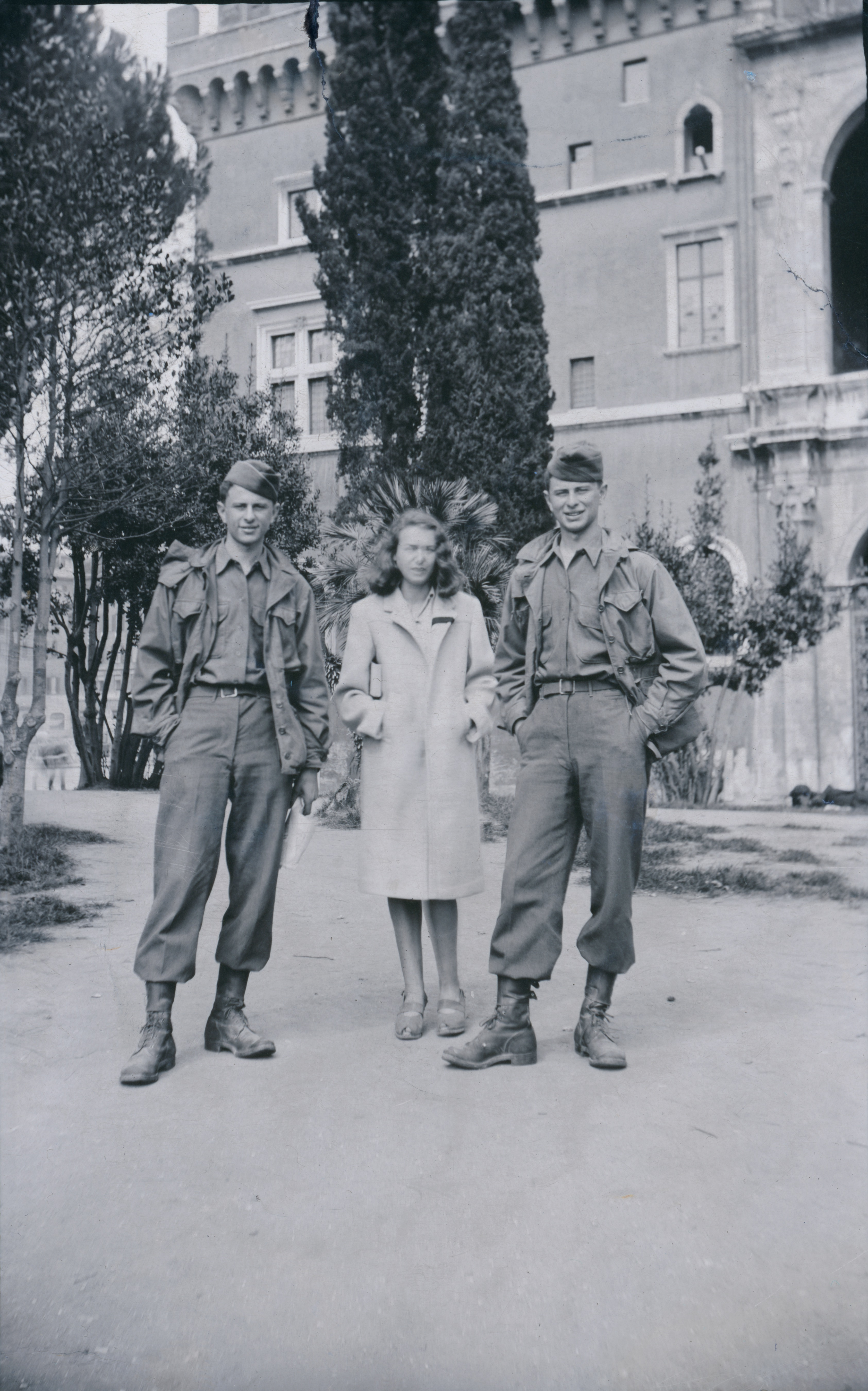 Korkeakivi's father, William Roston (left), and her uncle, Robert Roston (right), in Italy in 1944.