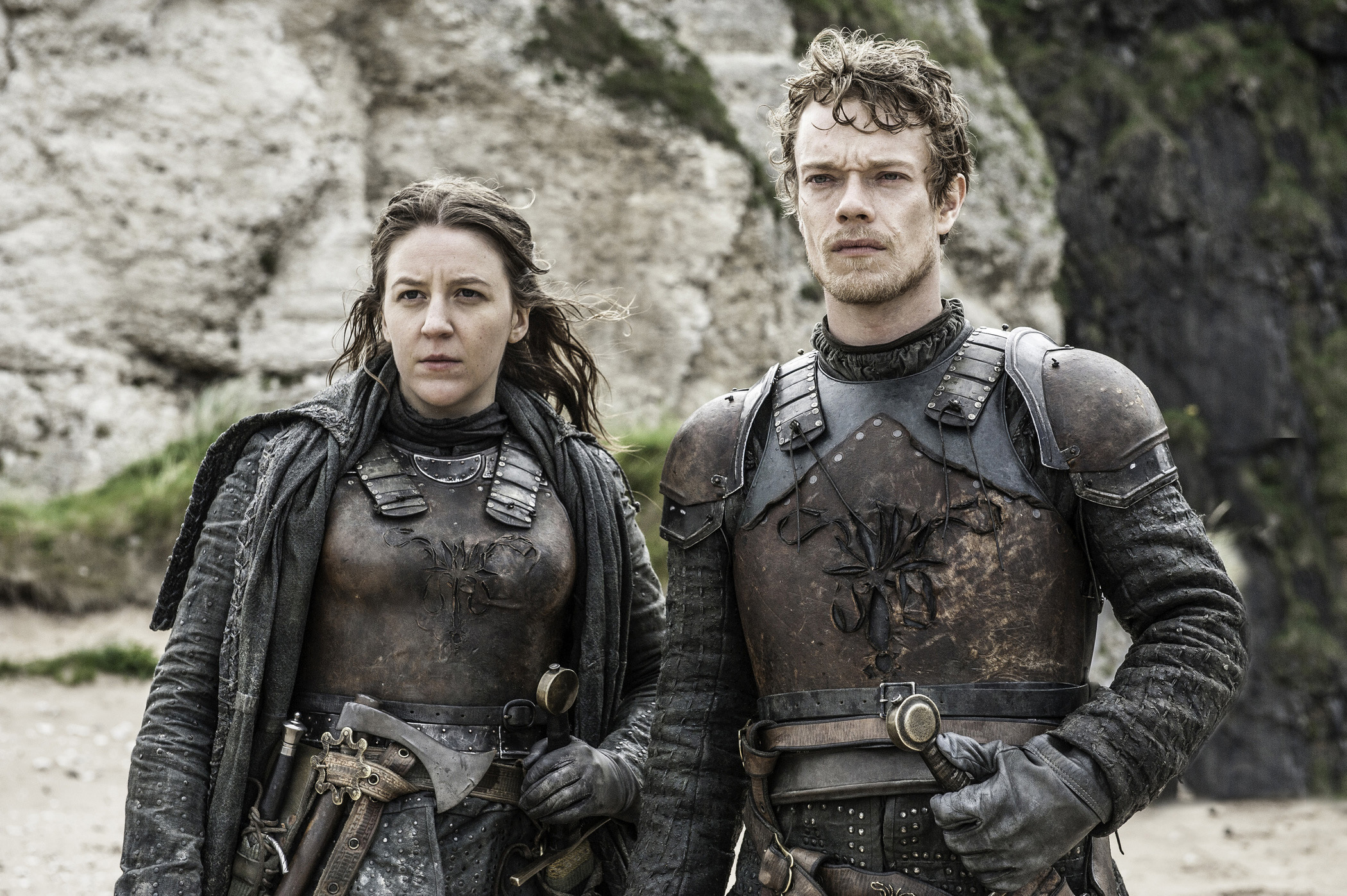 Gemma Whelan and Alfie Allen in Game of Thrones
