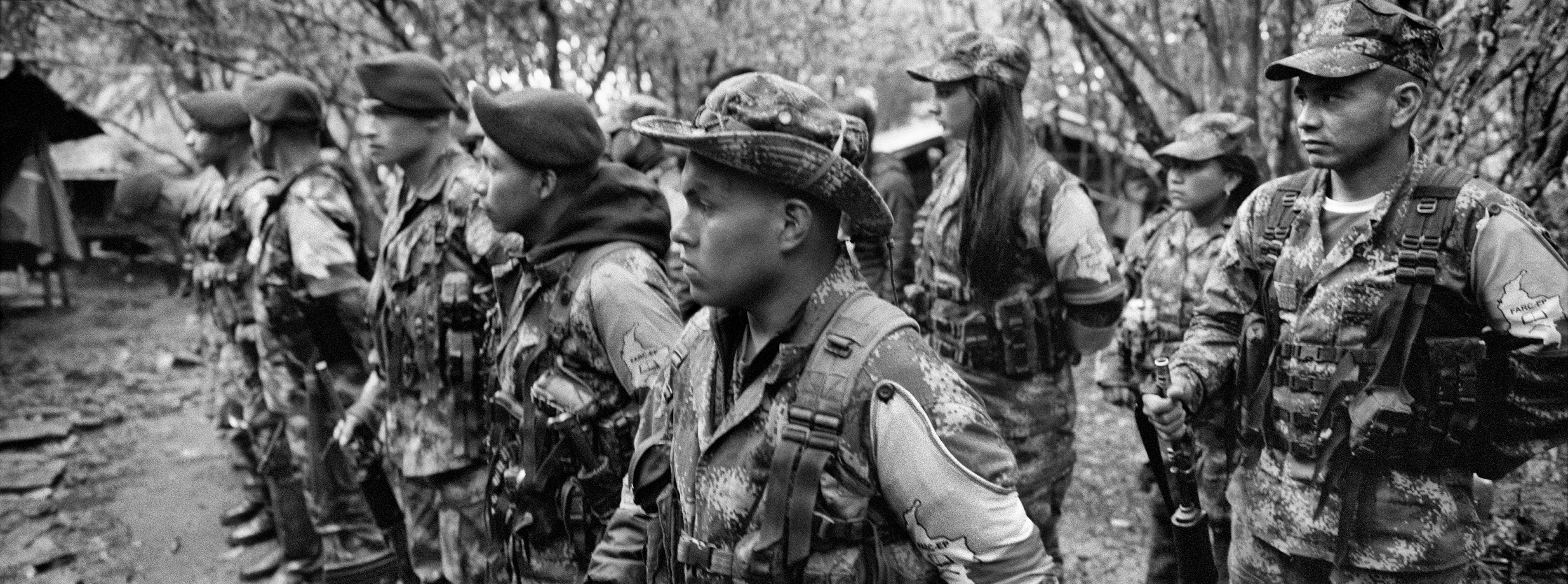 FARC guerrilla members  in training, July 2016. A peace agreement was reached in Havana, Aug. 24, 2016, ending  Colombia's 52-year old conflict that claimed more than 200,000 lives, Cauca, Colombia.