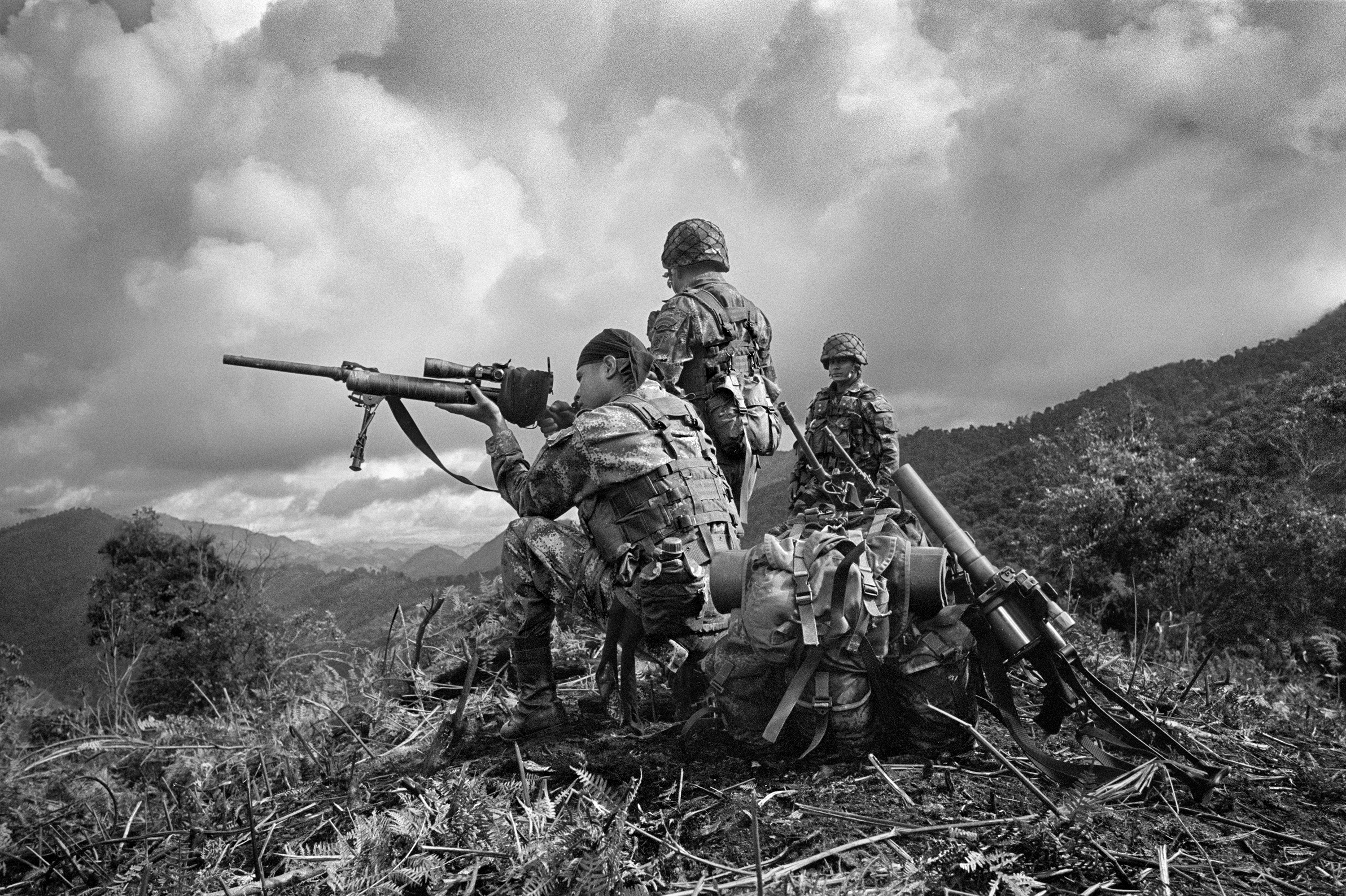 Soldiers of the Mobile Brigade No. 8 of the Joint Task Force South of Tolima during a military operation against  FARC in a village in the municipality of Planadas, southern Tolima. Planadas has been a major historical stronghold of FARC in Colombia, May 2011.