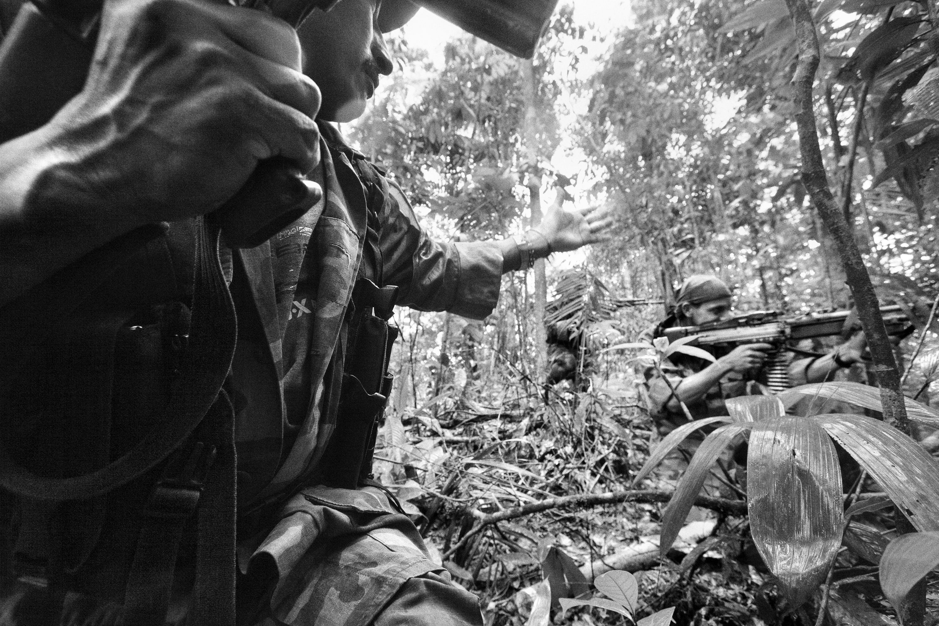Members of the Bloque Movil Arturo Ruiz of the revolutionary armed forces of Colombia (FARC) during a patrol, Nov. 2007.  A special unit of FARC, they fought in many different regions of Colombia. About 35% of the Colombian Territory was under the strict control of the Revolutionary Forces of Colombia, or the FARC, as the self-declared Marxist-Leninist guerrilla group is known.