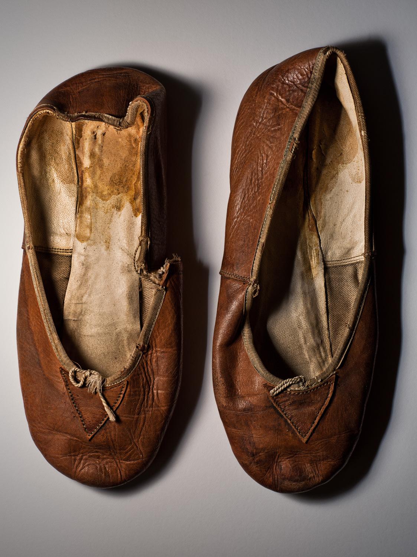 Dancer slippers used by Vaslav Nijinsky in Spectre de la Rose, c. 1911.