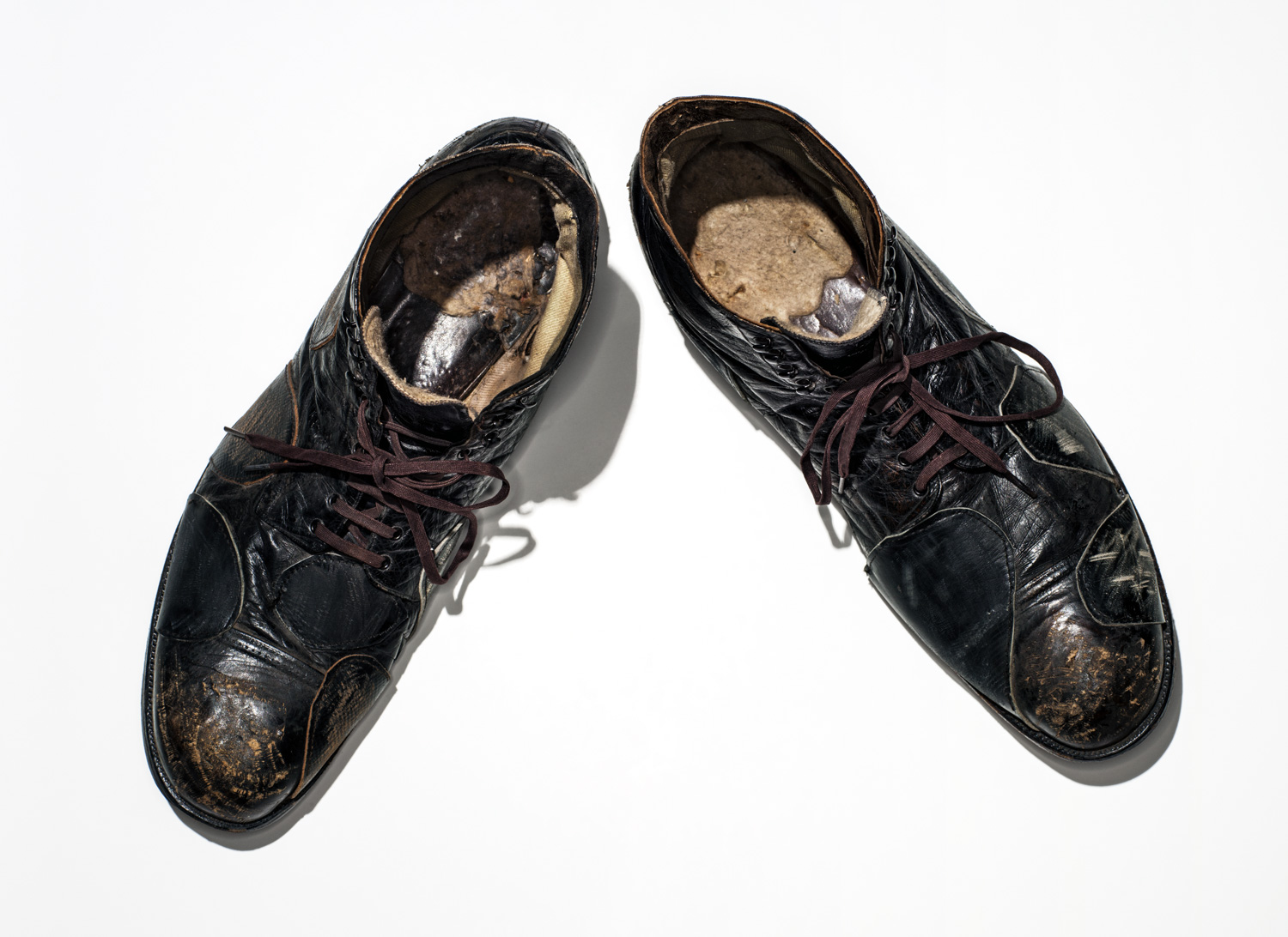 Charlie Chaplin's shoes, worn in City Lights, 1931.