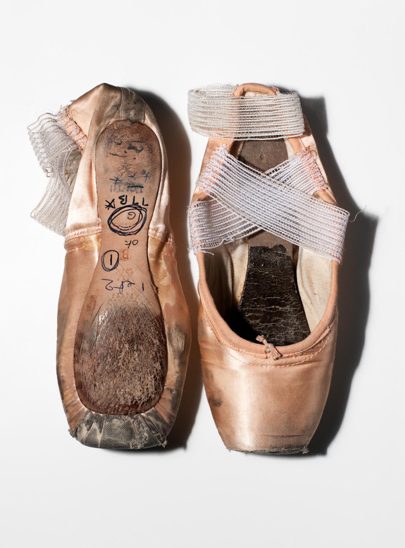 A pair of dancer Sylvie Guillem's pointe shoes.