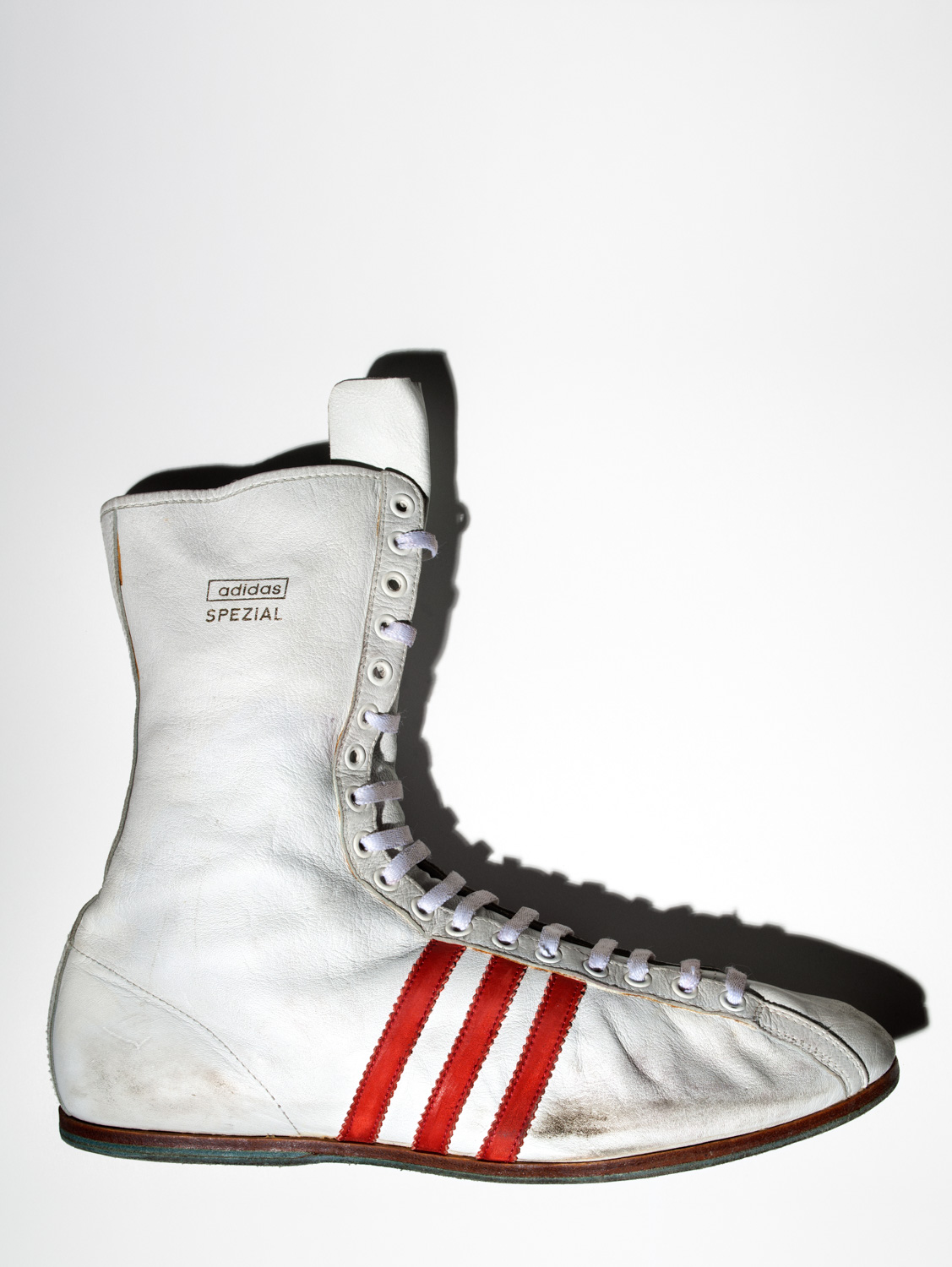 American boxer Muhammad Ali's Adidas  Special  boxing shoe, size 13 US.