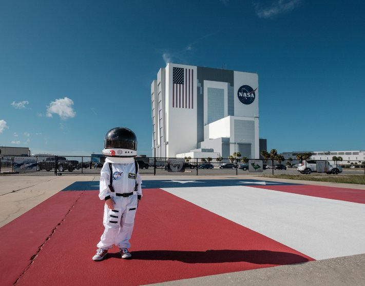 Harrison Sheldon stands on the Apollo gantry at the Kennedy Space Center, July 18, 2016.