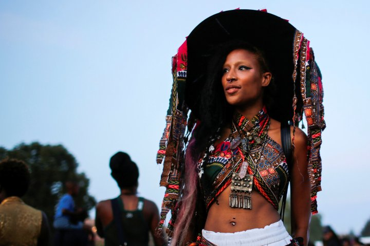 A woman takes part in the Annual Afropunk Music festival in the borough of Brooklyn in New York City on Aug. 27, 2016.