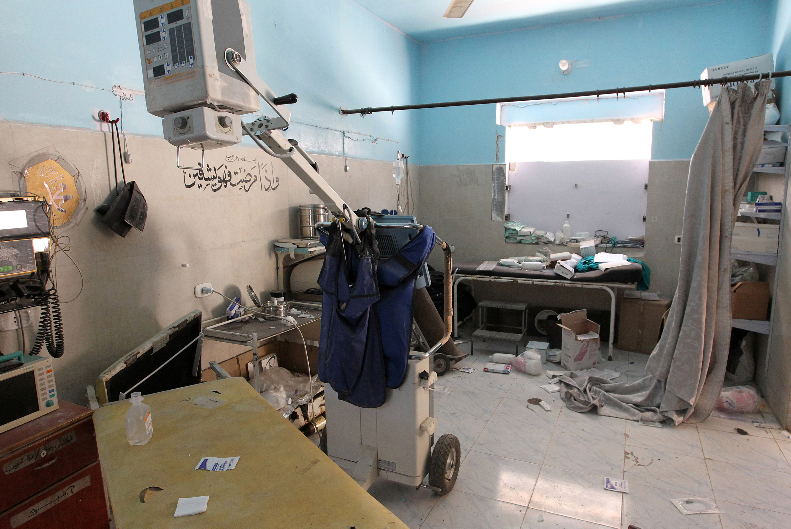 A video screengrab shows the damage inside Anadan Hospital, sponsored by Union of Medical Care and Relief Organizations (UOSSM), after it was hit by an airstrike in the rebel held city of Anadan, northern Aleppo province, Syria, on July 31, 2016.
