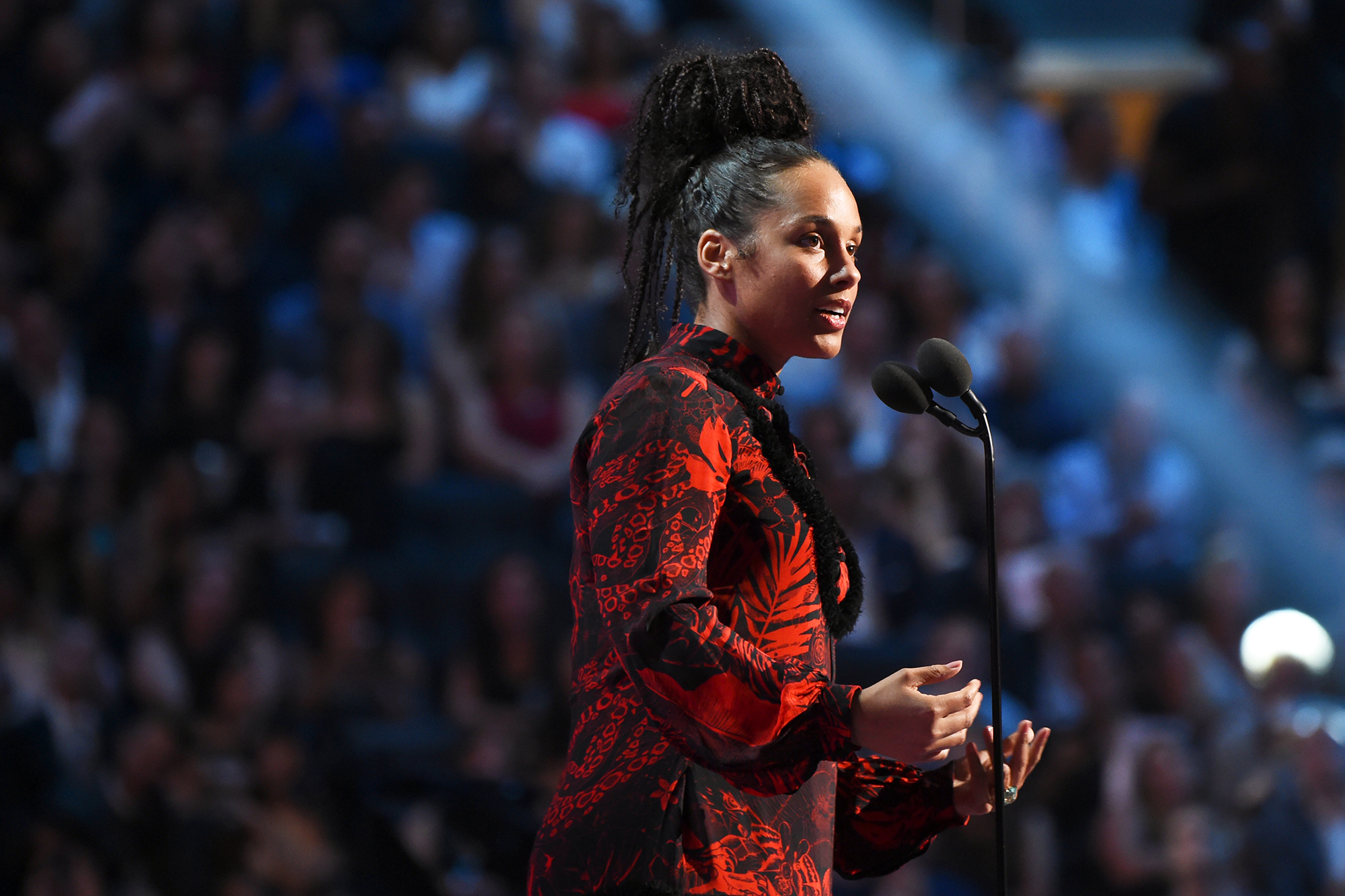 Alicia Keys speaks during the 2016 MTV Video Music Awards at Madison Square Garden on Aug. 28, 2016 in New York City.