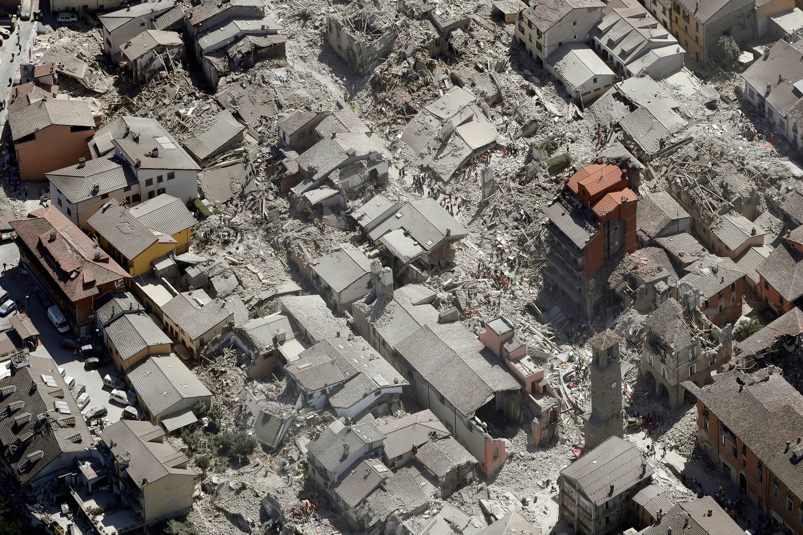 An overhead view of Amatrice after a powerful earthquake in central Italy on Aug. 24, 2016.