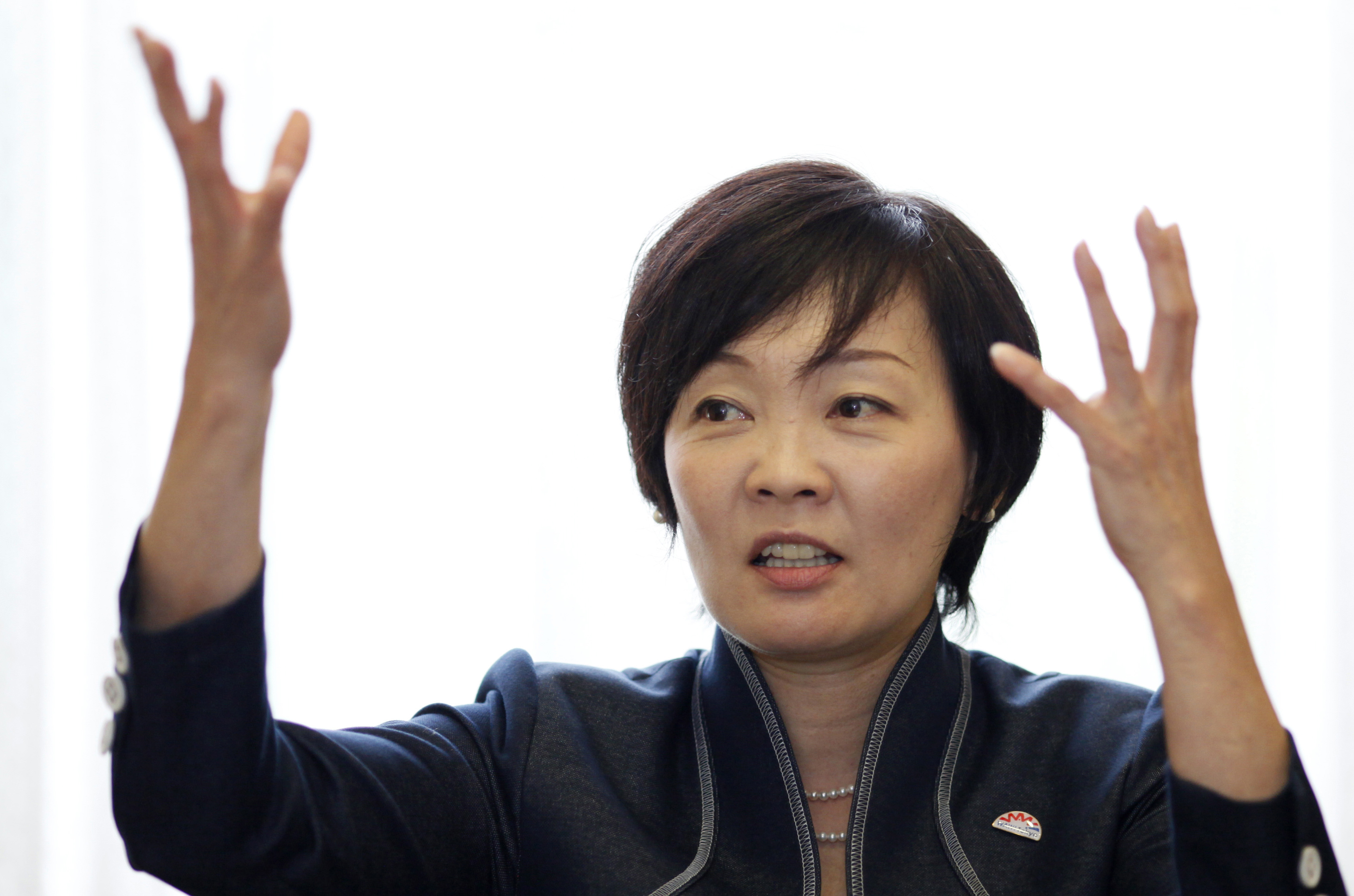 Akie Abe, wife of Japanese Prime Minister Shinzo Abe, speaks during an interview in Tokyo on Sept. 4, 2014