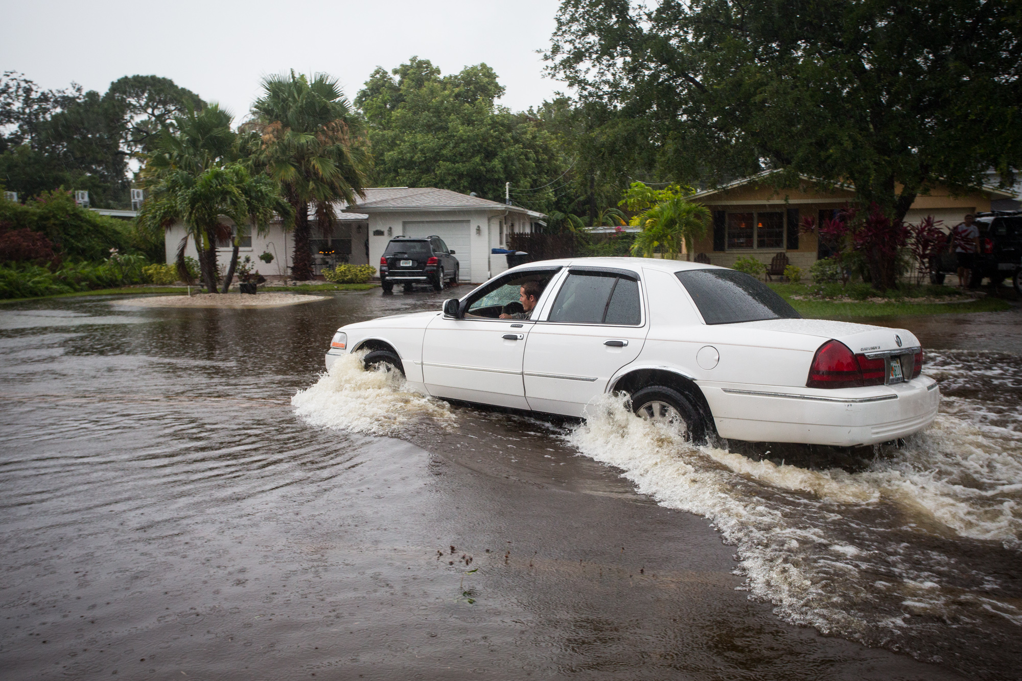 A motorist drives down a flooded street in St. Petersburg, Fla., after Tropical Storm Colin dumped heavy rains over the Tampa Bay area on June 7, 2016.