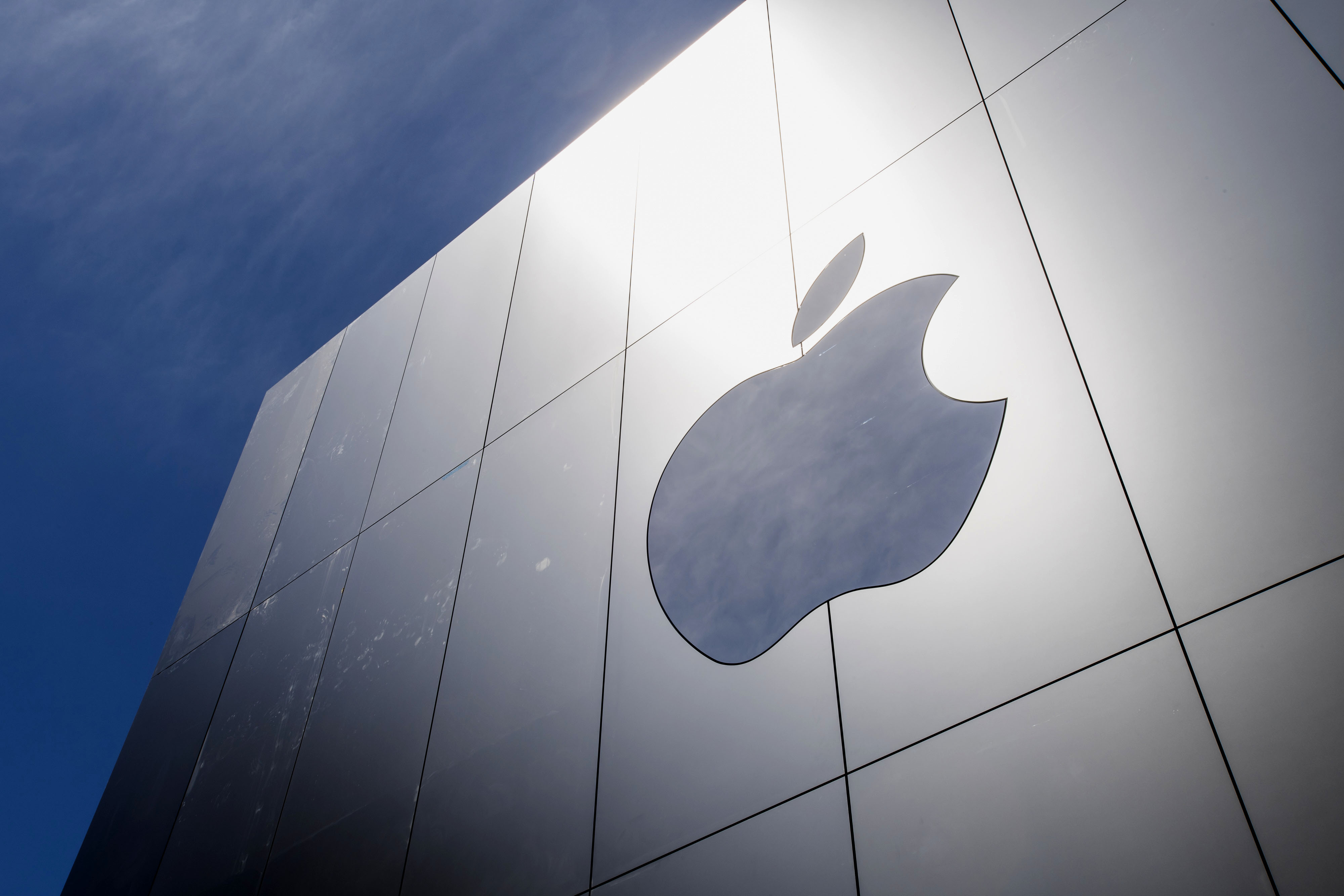 The Apple Inc. logo is seen outside of the company's new flagship store at Union Square in San Francisco, California, U.S., on Thursday, May 19, 2016.