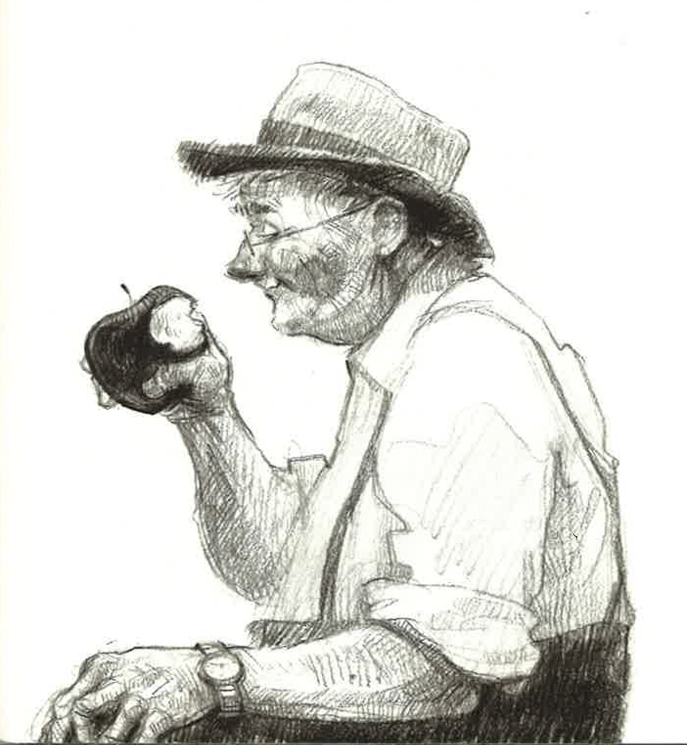 Illustration of the character, Arthur, eating an apple in the book Applesauce Weather. Published by Candlewick Press.