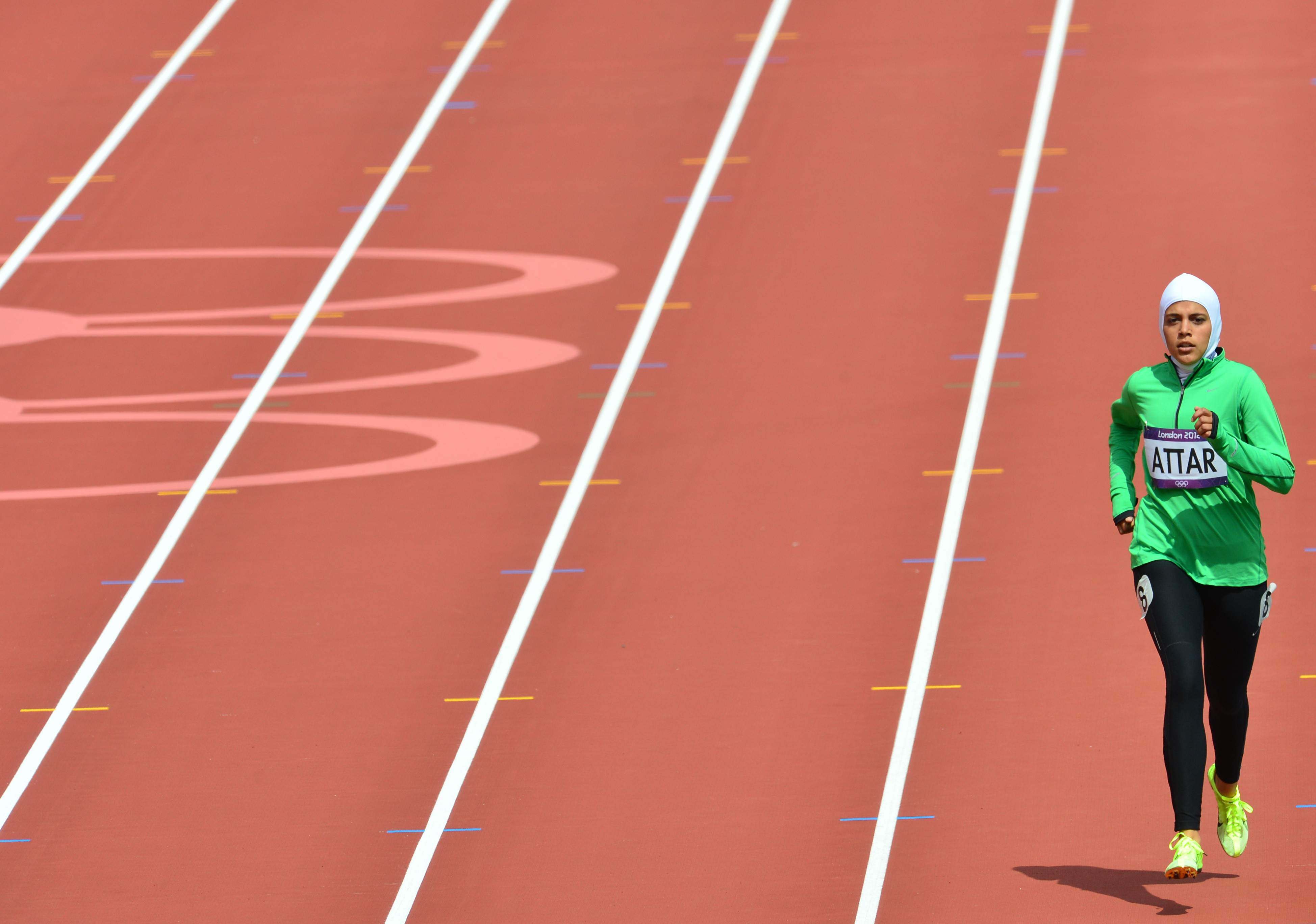 Saudi Arabia's Sarah Attar competes in the women's 800m heats at the athletics event of the London 2012 Olympic Games on Aug. 8, 2012.