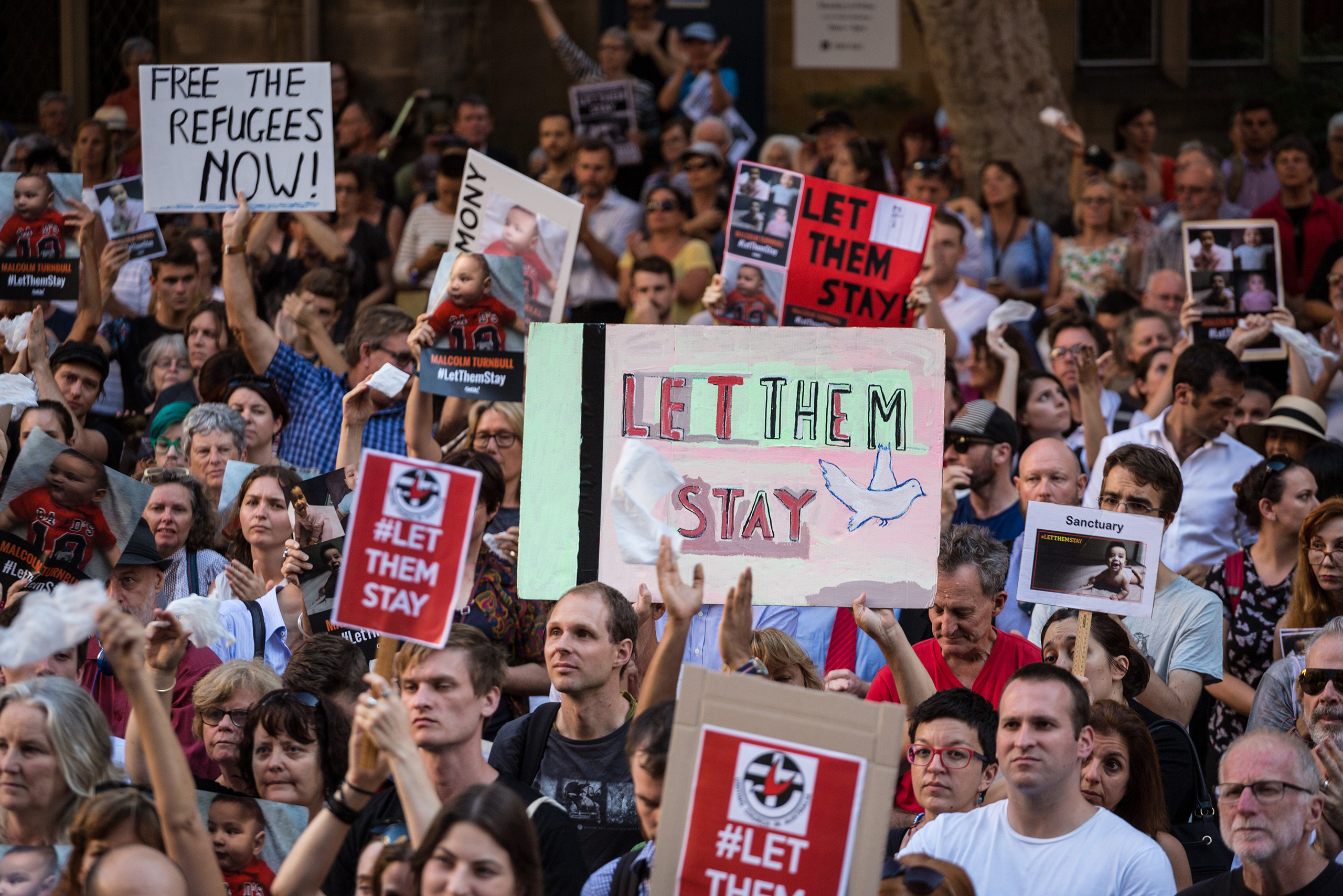 Thousands of protesters demonstrate at Town Hall Square in Sydney, Australia, on Feb. 8, 2016, against the offshore detention and detention of asylum seeker children to the offshore processing centers of Manus Island and Nauru.