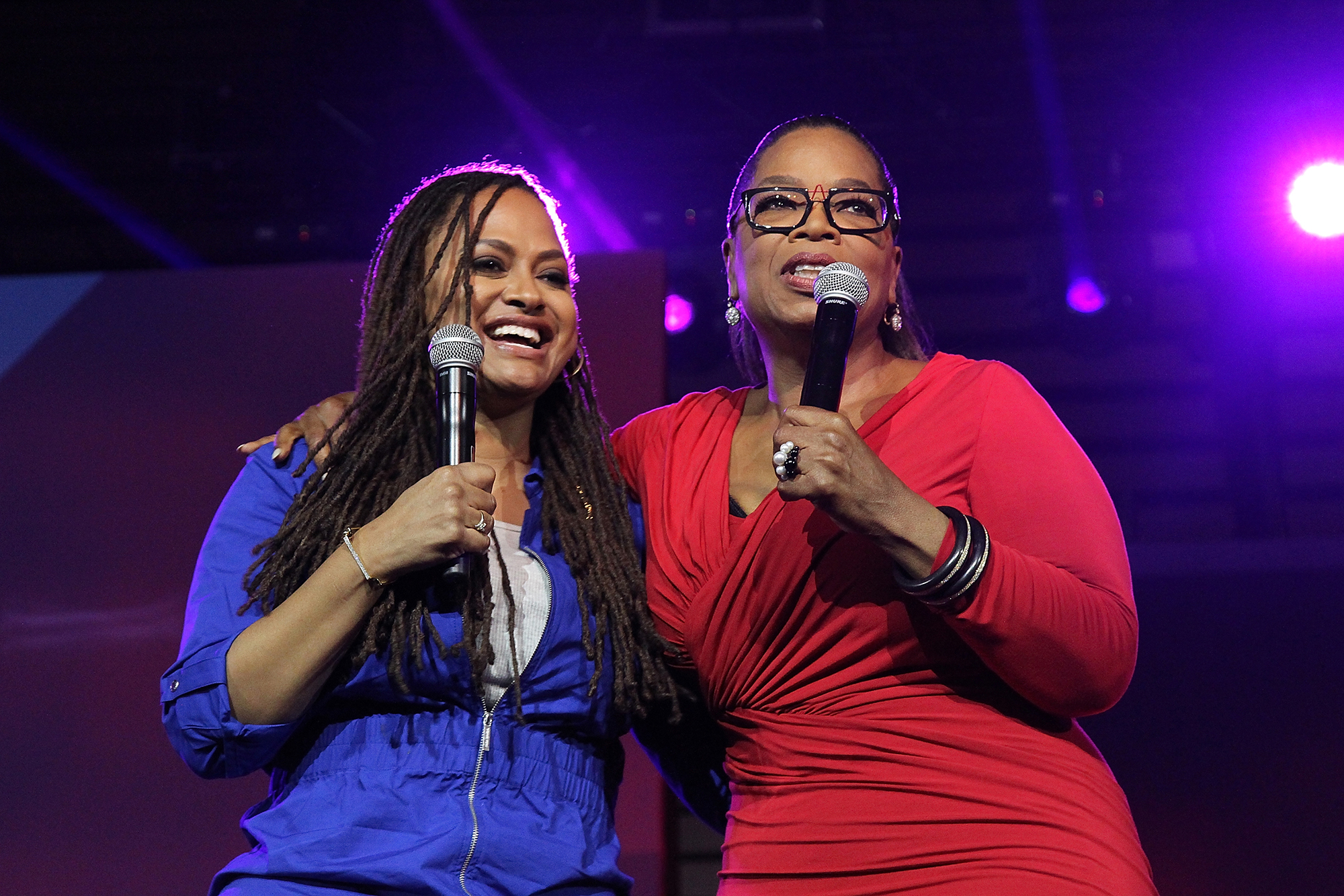 Ava DuVernay and Oprah Winfrey attend the 2016 Essence Festival - Day 2 at Ernest N. Morial Convention Center on July 1, 2016 in New Orleans, Louisiana.  (Photo by Bennett Raglin/WireImage)