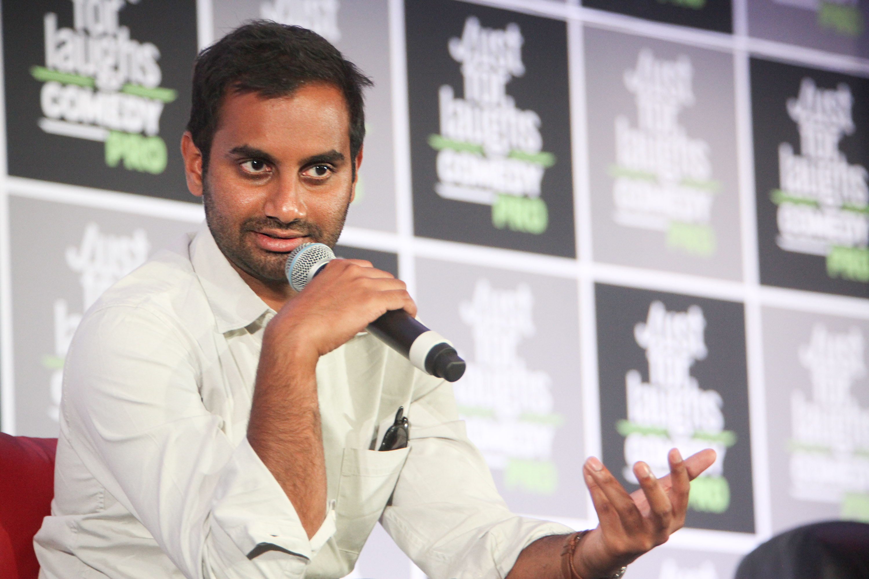 Comedian/Actor Aziz Ansari attends Master of None cast panel at Just for Laughs Comedy Festival held at The Hyatt Regency Montreal on July 29, 2016 in Montreal, Canada.
