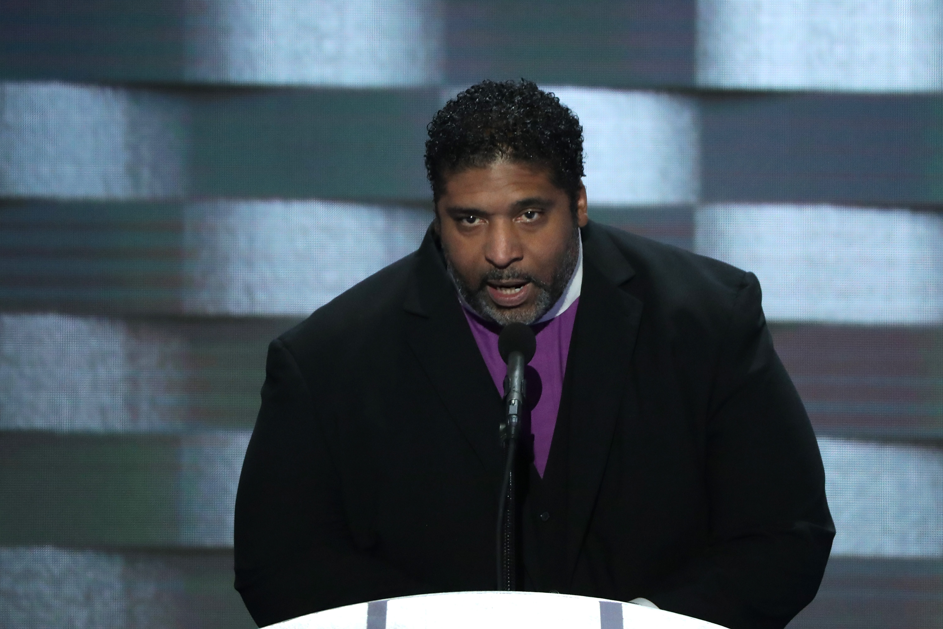 Reverend William Barber delivers remarks on the fourth day of the Democratic National Convention at the Wells Fargo Center in Philadelphia on July 28, 2016.