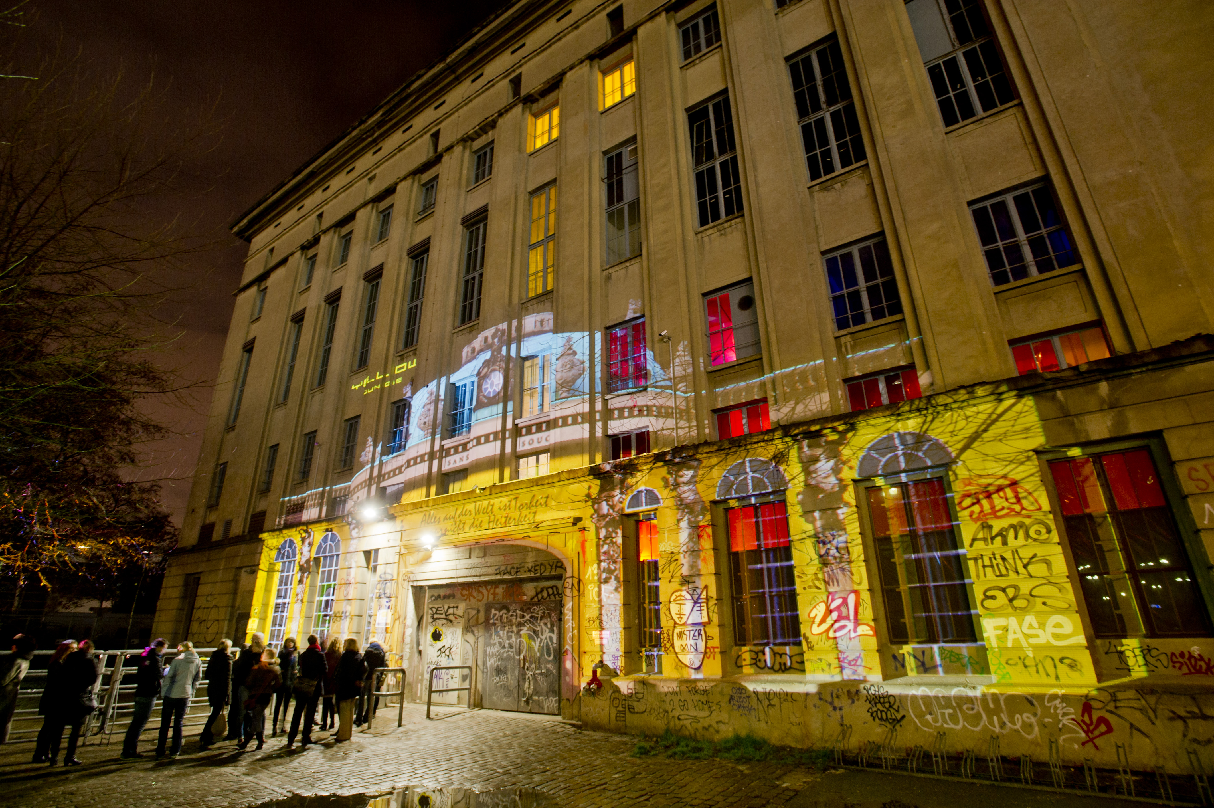 A projection on the facade of Berghain nightclub in Berlin.