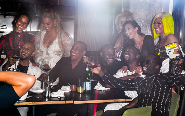 Alicia Keys, Swizz Beatz, Beyonce, Jay Z, Kanye West, Kim Kardashian, Sean 'Diddy' Combs and Cassie celebrate their 2016 MTV Video Music Awards After Party at Pasquale Jones on August 28, 2016 in New York City.