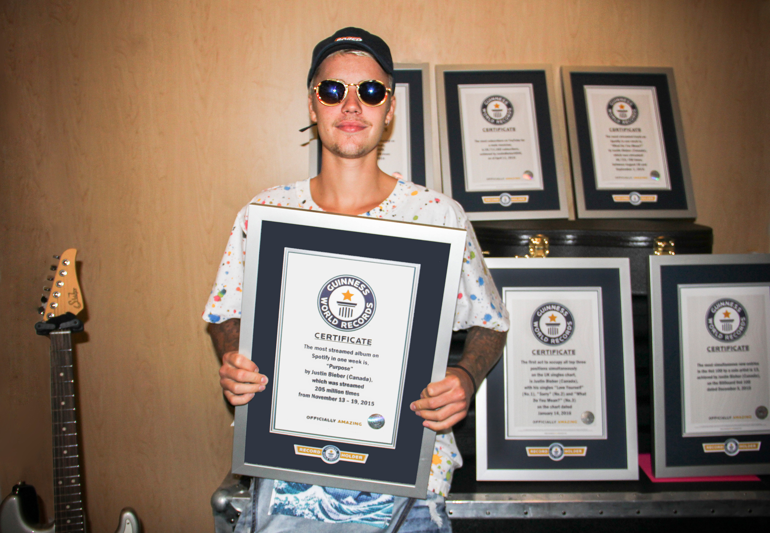 Guinness World Records recently presented Justin Bieber with certificates celebrating his record-breaking achievements before one of his sold-out shows on the Purpose World Tour at Madison Square Garden in New York City.