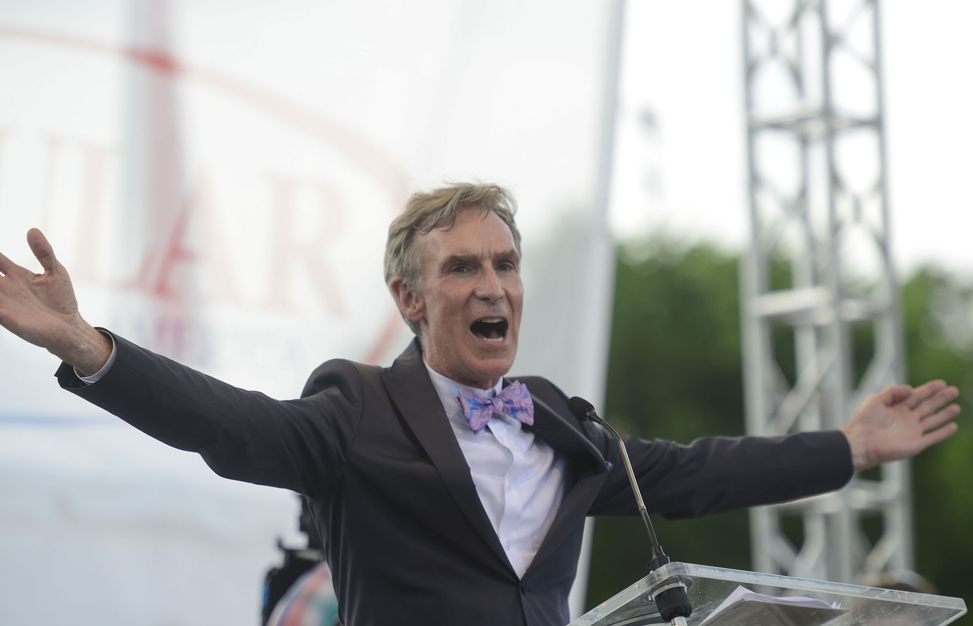 Bill Nye the Science Guy speaks at the Reason Rally 2016 at Lincoln Memorial on June 4, 2016 in Washington, DC.  (Photo by Riccardo S. Savi/Getty Images)