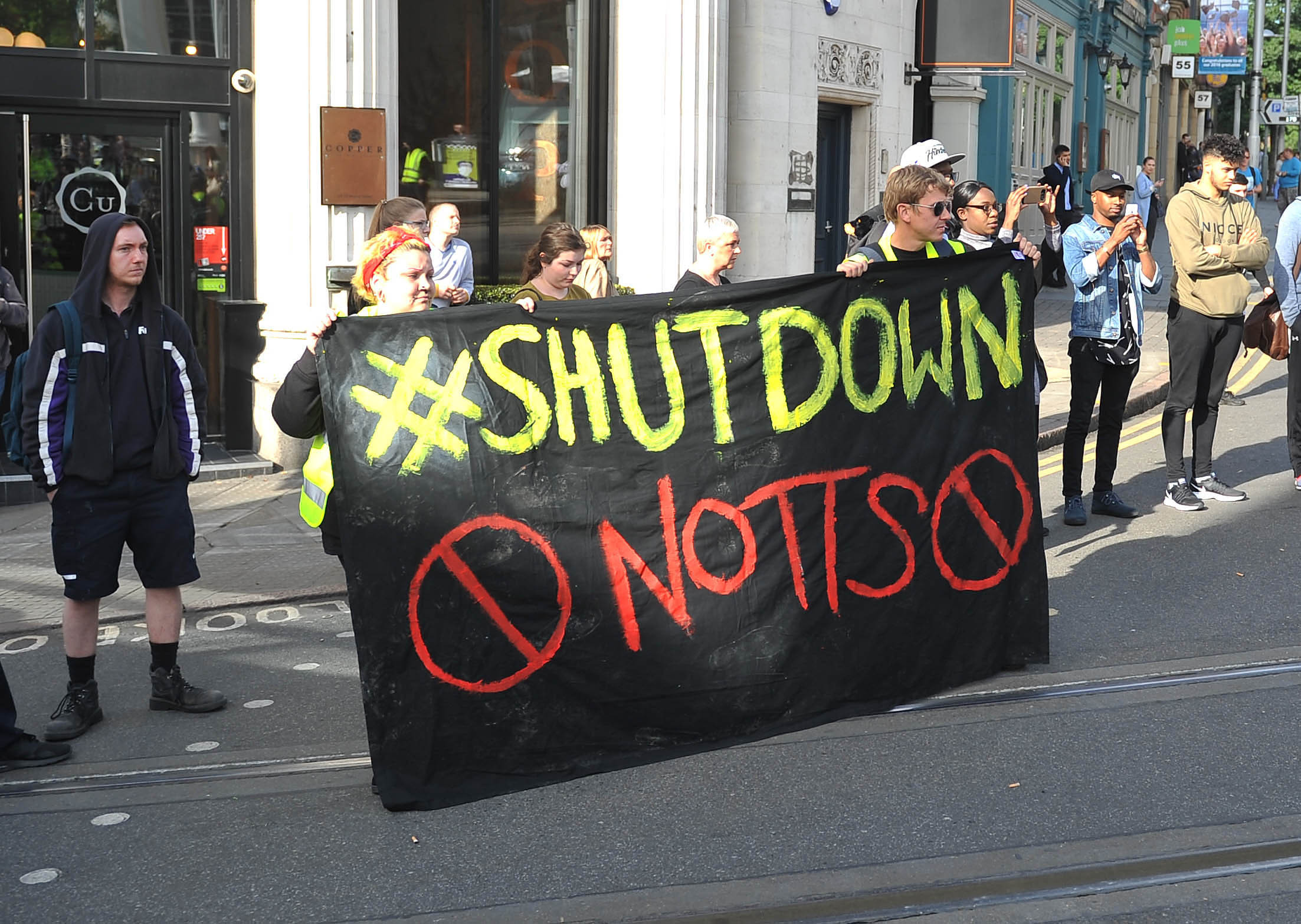 Black Lives Matter protestors in Nottingham, in the UK, shut down part of the city centre tram and bus network to protest for social justice on Friday August 5, 2016