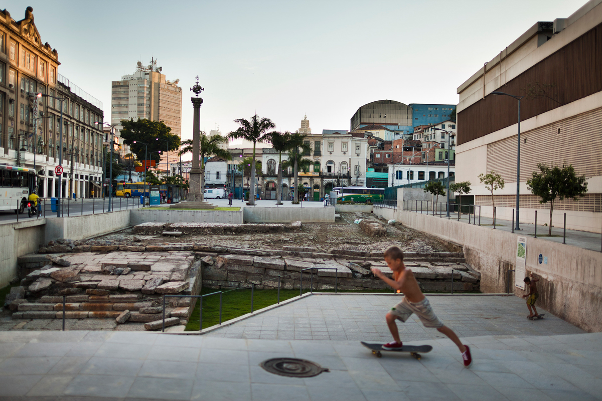 The remains of a stone wharf where arriving slave ships were once docked in Rio de Janeiro, Brazil, on Jan. 8, 2014.