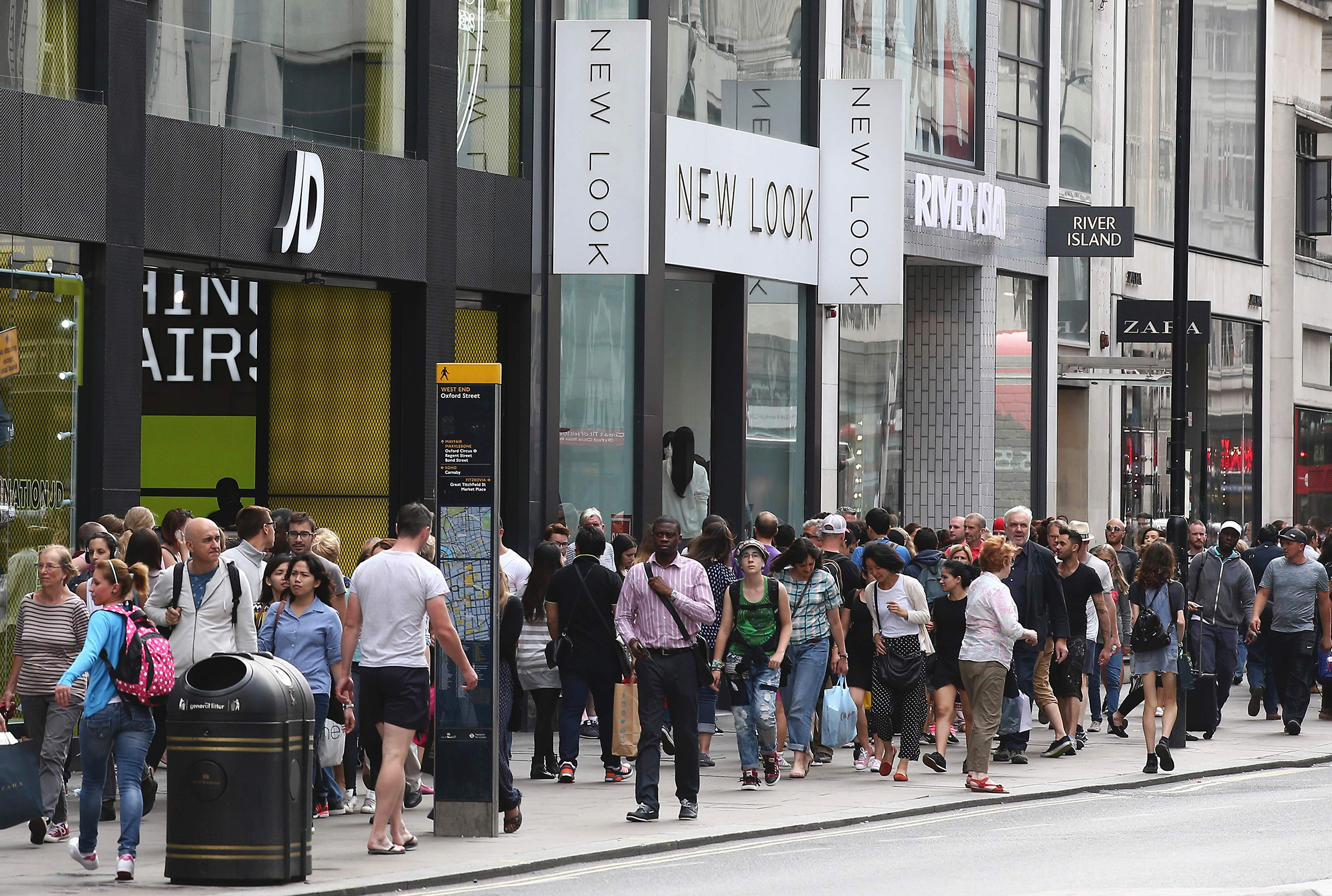 Retail shops on Oxford Street in central London on Aug. 18, 2016.