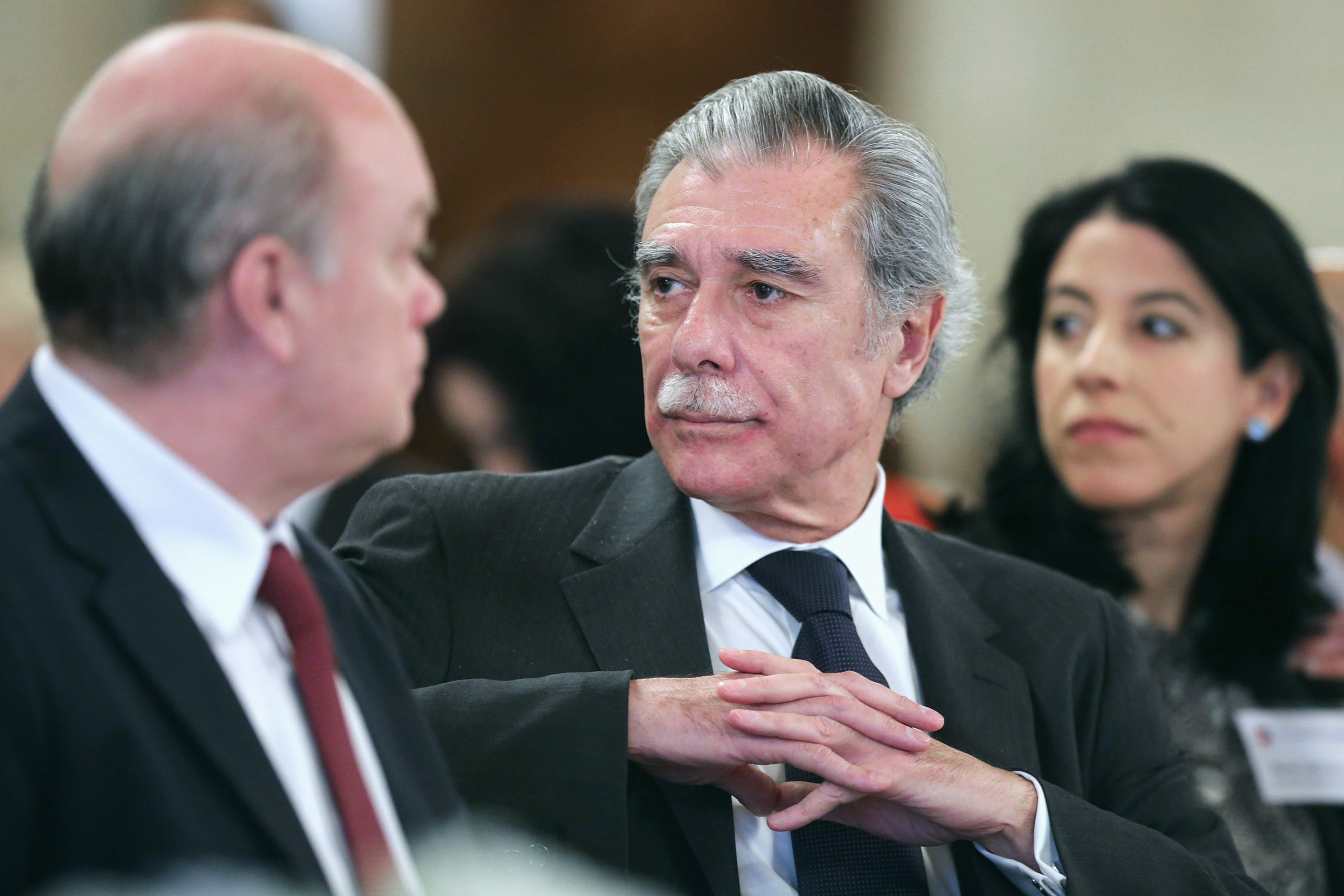 Former Secretary of Commerce Carlos Gutierrez attends a luncheon following a meeting of the business council at the chamber's headquarters in Washington on Feb. 16, 2016.