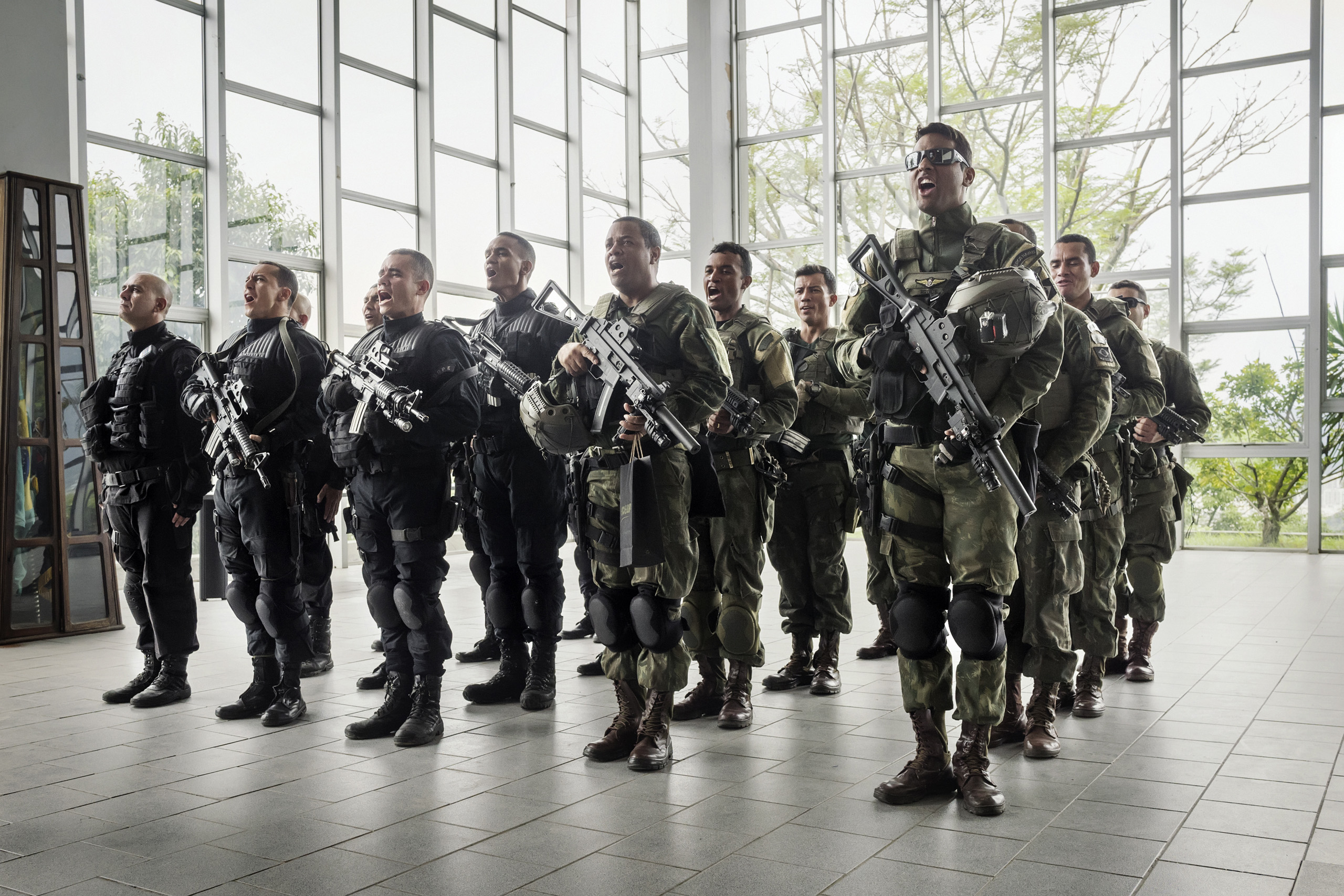 Members of the Battallion of the Special Police Operations (BOPE) during  a training ceremony.