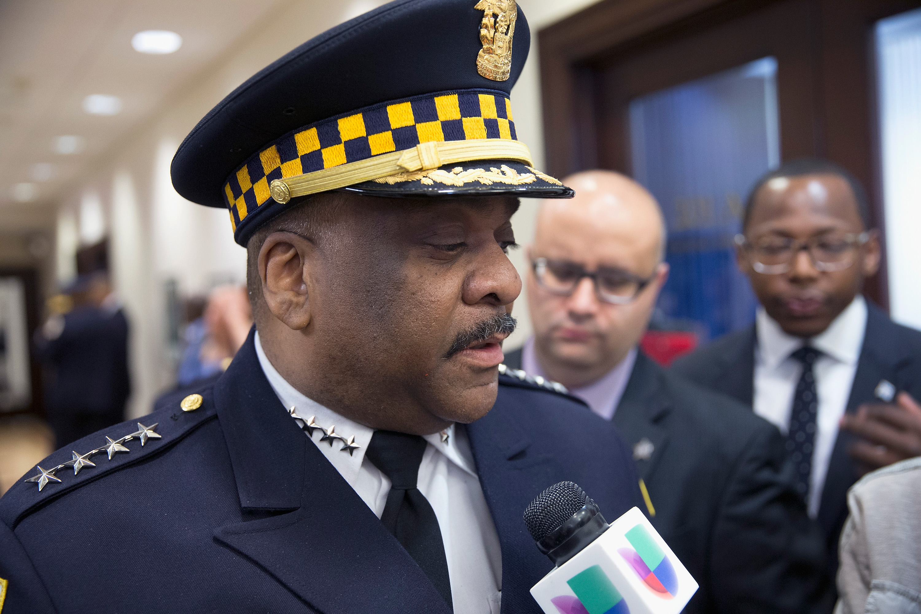 Eddie Johnson speaks to the press after being sworn in as Chicago Police Superintendent on April 13, 2016 in Chicago, Illinois.