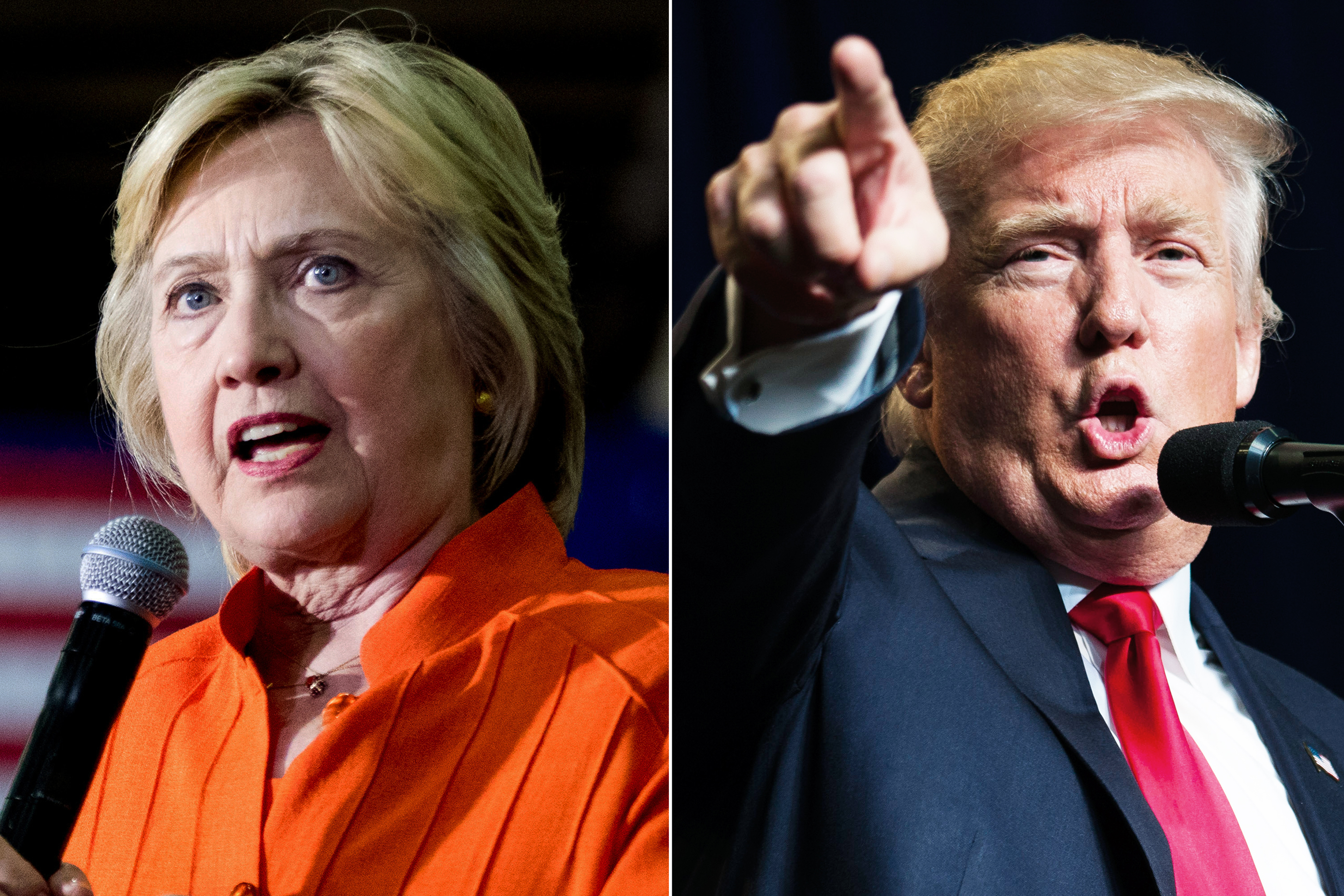 Hillary Clinton in St. Petersburg, FL, on Aug. 8, 2016 (L); Donald Trump in Green Bay, WI, on Aug. 5, 2016.