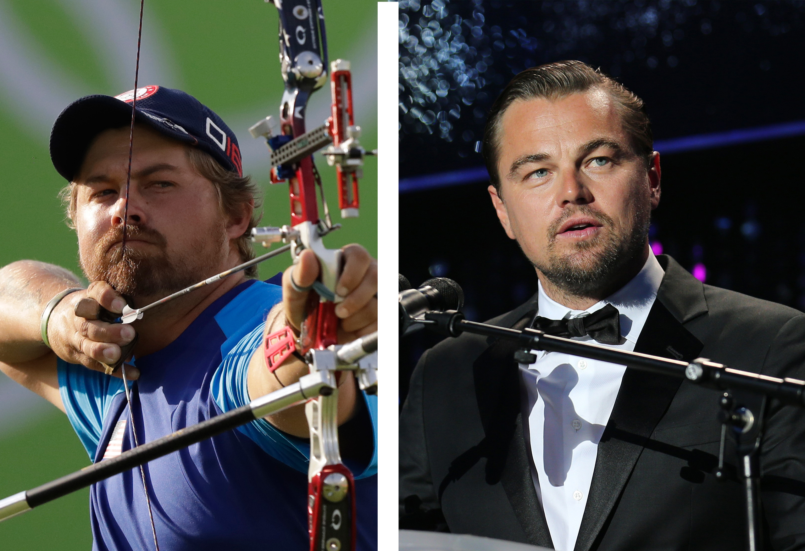 Brady Ellison of the United States and Leonardo DiCaprio.