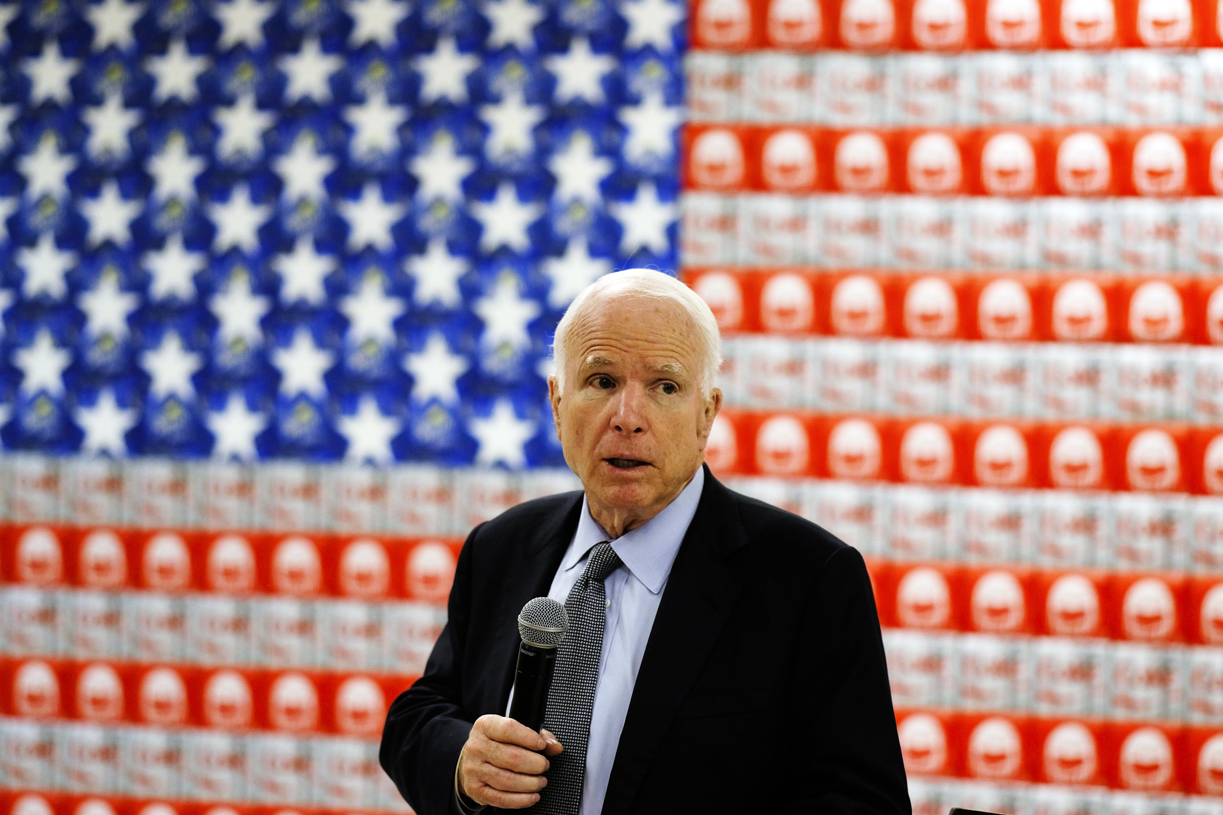 Sen John McCain campaigns for re election to the Senate at Coca Cola bottling plant in Tempe, Ariz. on Aug. 23, 2016.