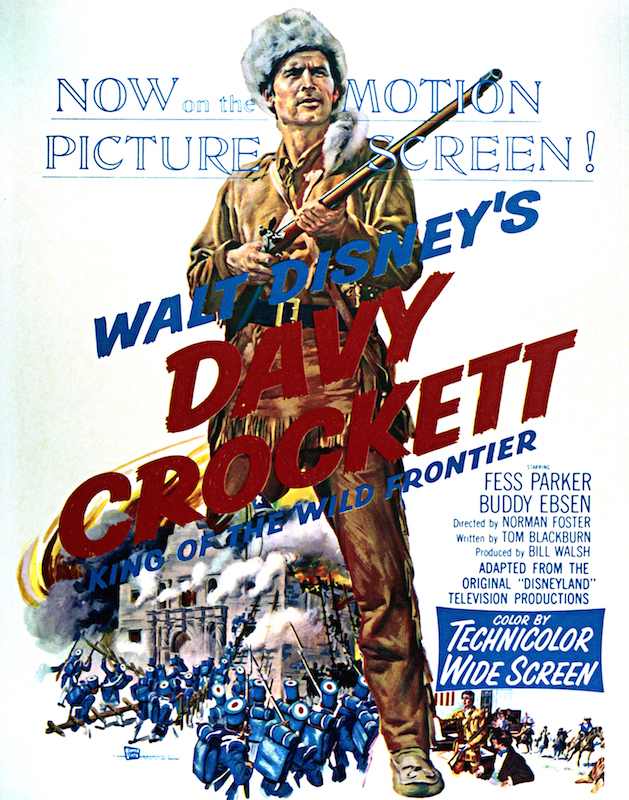 A poster for Norman Foster's 1955 adventure film 'Davy Crockett, King Of The Wild Frontier', starring Fess Parker.