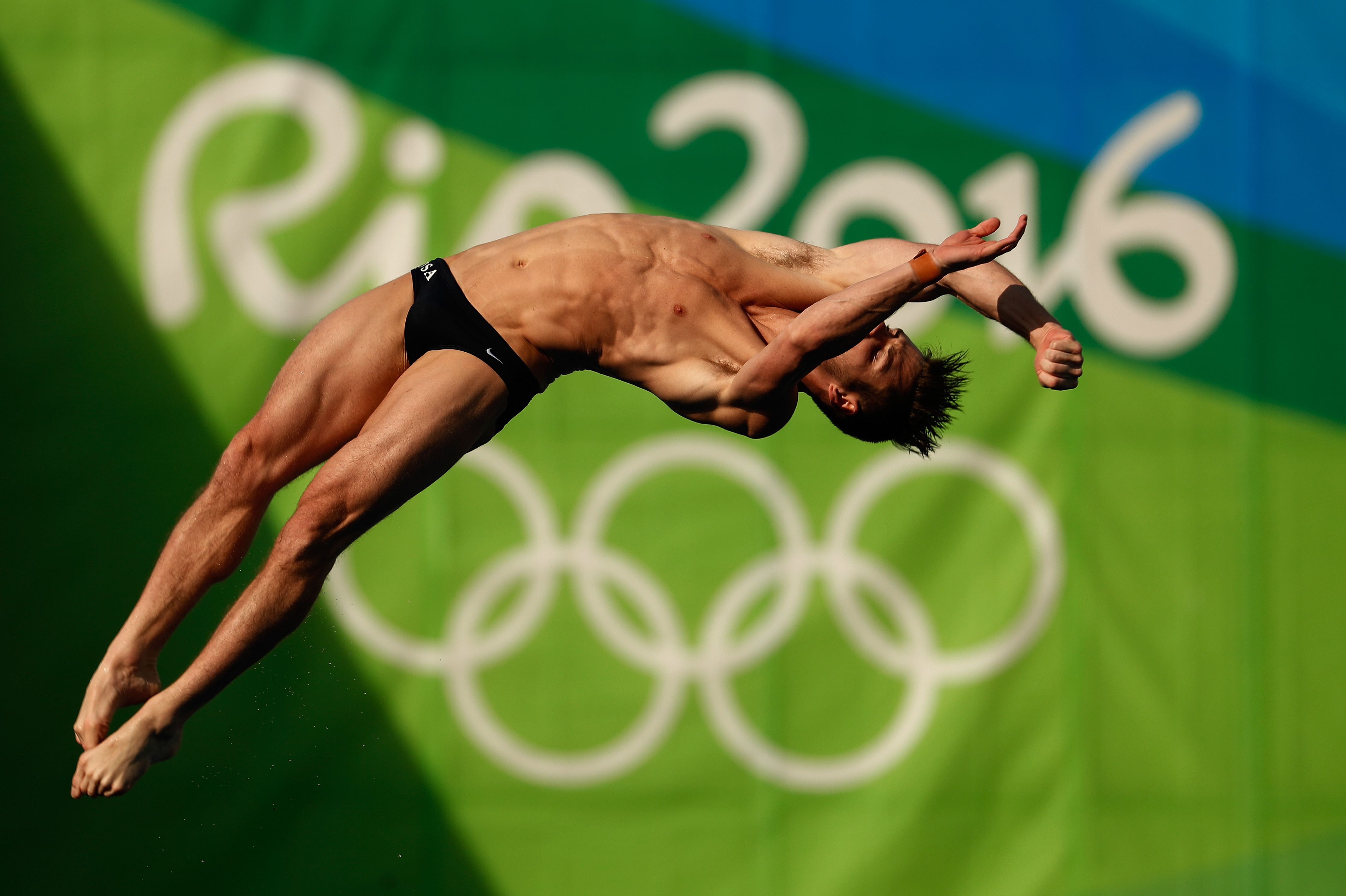 David Boudia competes during the Diving Men's 10m Platform Preliminary on Day 14 of the Rio 2016 Olympic Games, on Aug. 19, 2016.