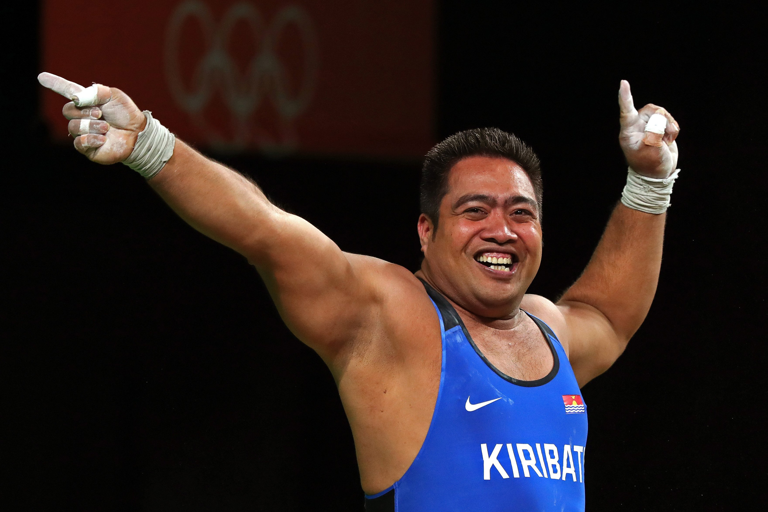 David Katoatau of Kiribati dances during the Men's 105kg Group B Weightlifting event on Day 10 of the Rio 2016 Olympic Games at Riocentro - Pavilion 2 in Rio de Janeiro on Aug. 15, 2016.