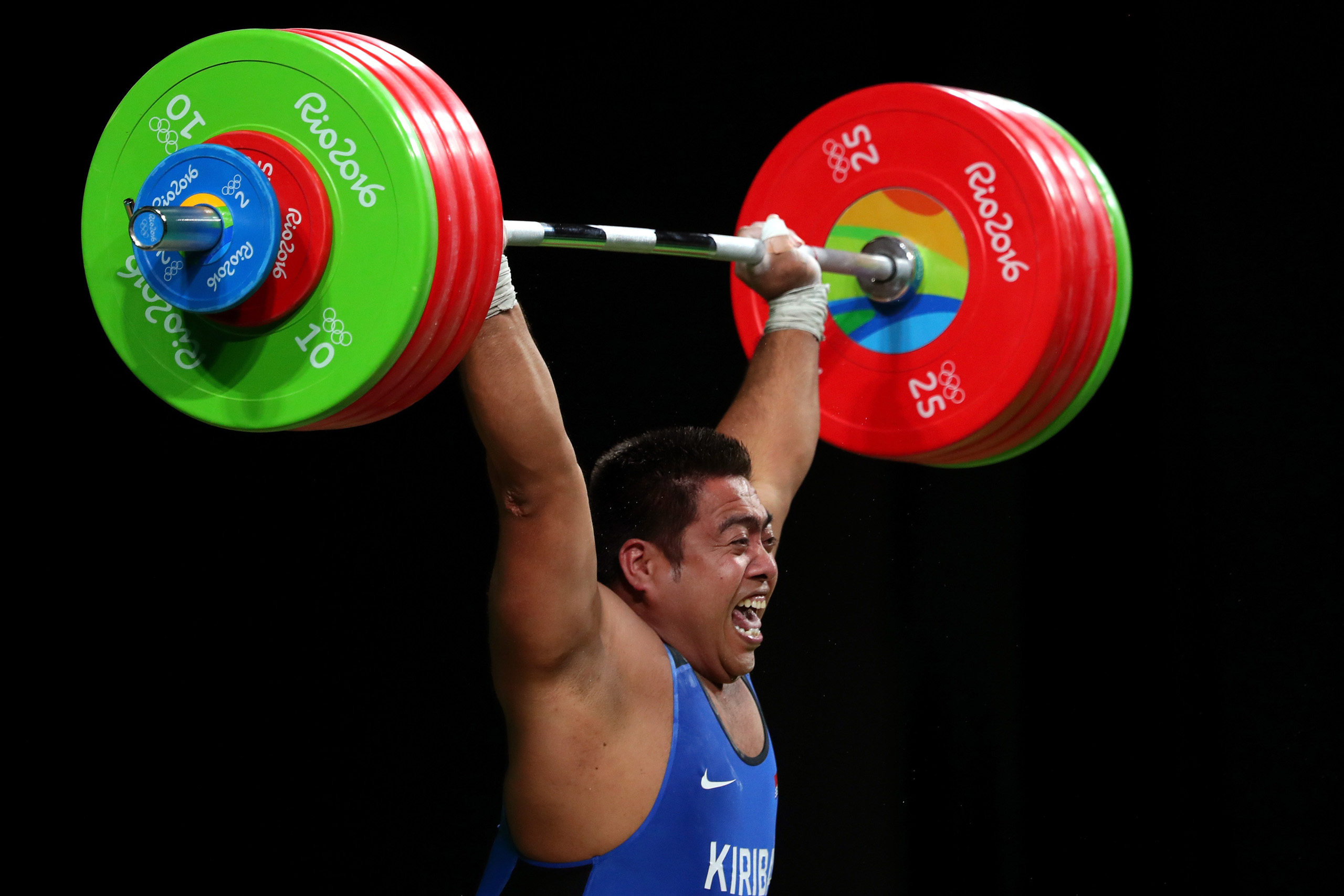 David Katoatau of Kiribati competes during the Men's 105kg Group B Weightlifting event on Day 10 of the Rio 2016 Olympic Games at Riocentro - Pavilion 2 in Rio de Janeiro on Aug. 15, 2016.