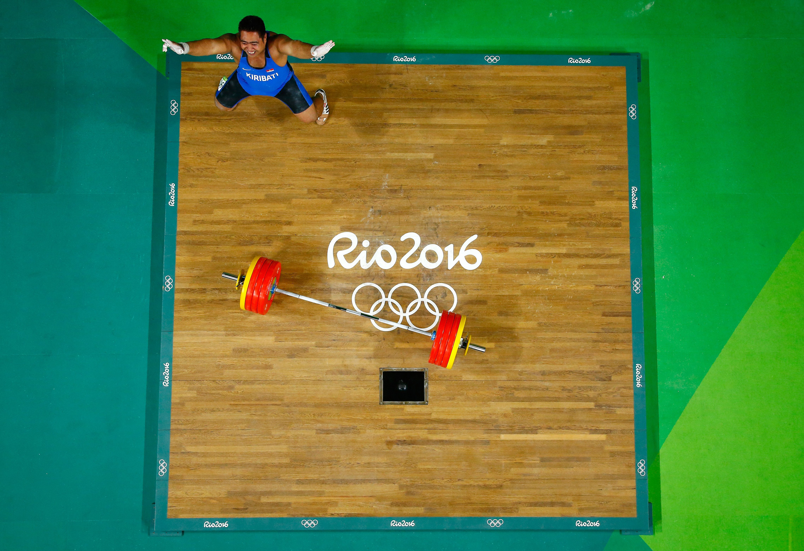 David Katoatau of Kiribati reacts during the Men's 105kg Group B Weightlifting event on Day 10 of the Rio 2016 Olympic Games at Riocentro - Pavilion 2 in Rio de Janeiro on Aug. 15, 2016.