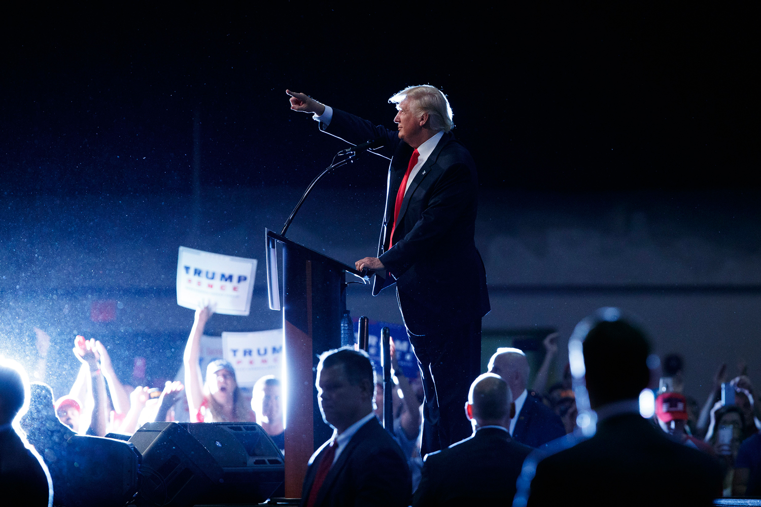 Republican presidential candidate Donald Trump speaks during a campaign town hall at Ocean Center in Daytona Beach, Fla., on Aug. 3, 2016.