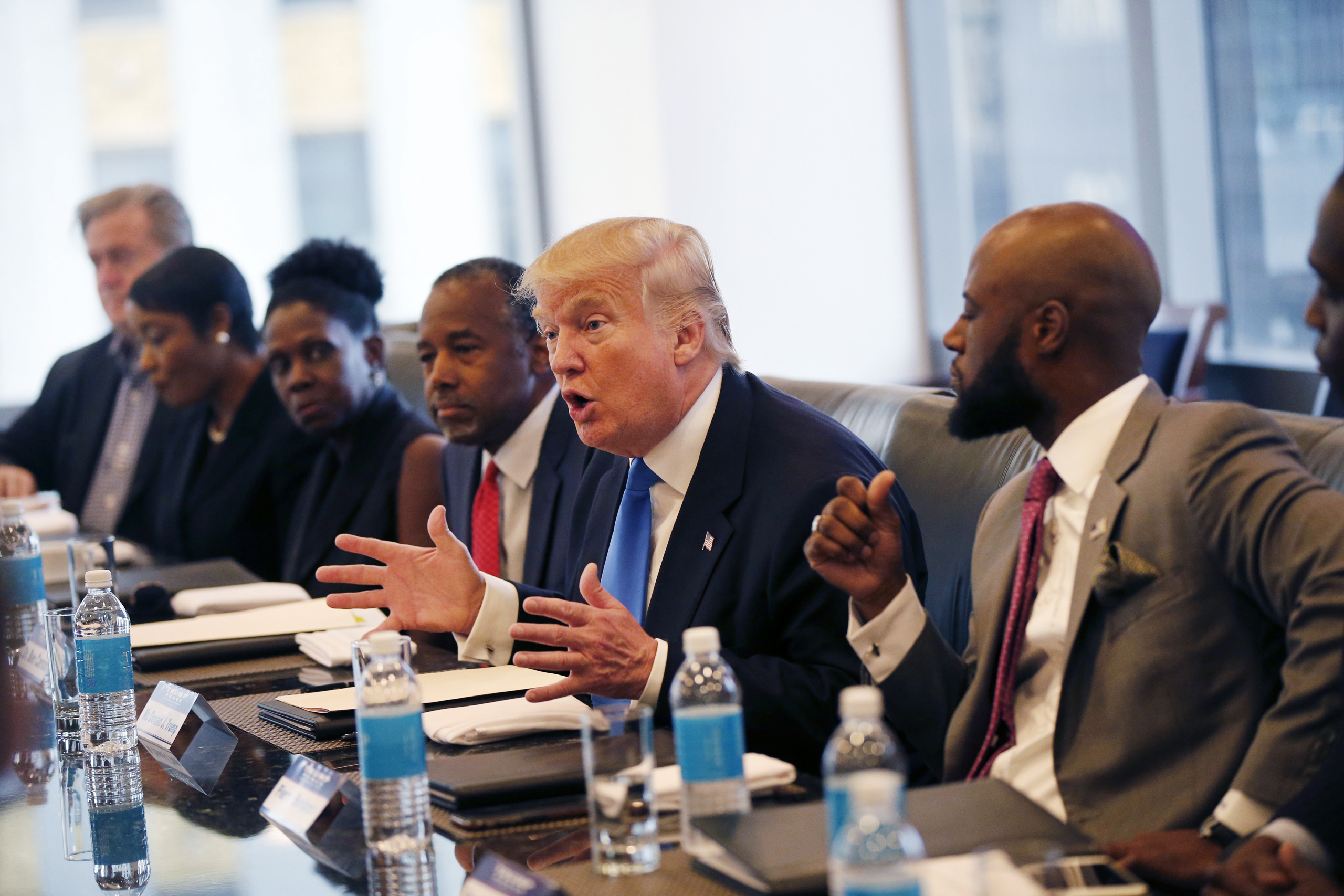 Republican presidential candidate Donald Trump holds a roundtable meeting with the Republican Leadership Initiative in his offices at Trump Tower in New York City on Aug. 25, 2016.