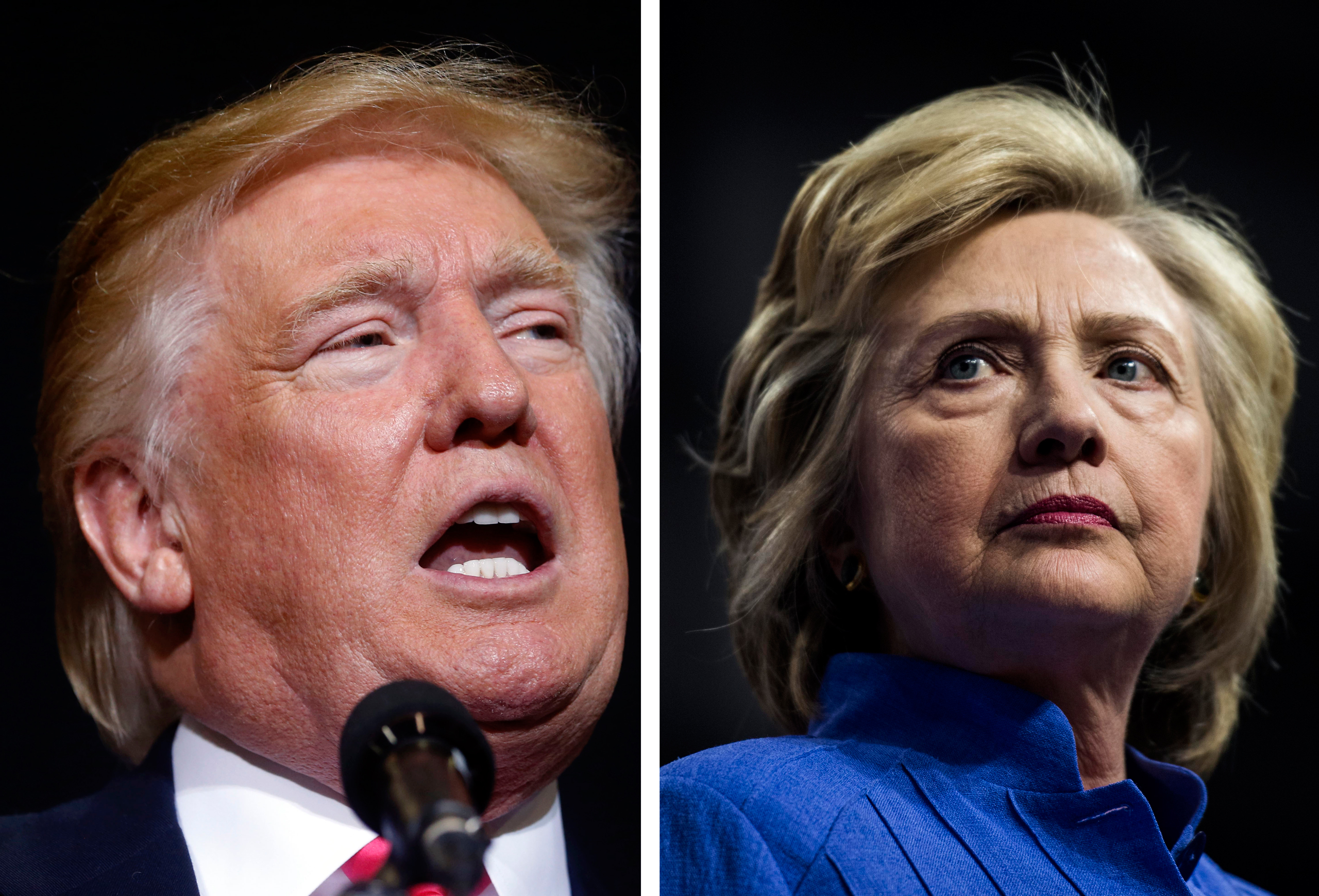 Left: Donald Trump arrives to speak at a campaign rally in Manchester, N.H., on Aug. 25, 2016.  Right: Hillary Clinton rallies with Vice President Joe Biden in Scranton, Pa. on Aug. 15, 2016.