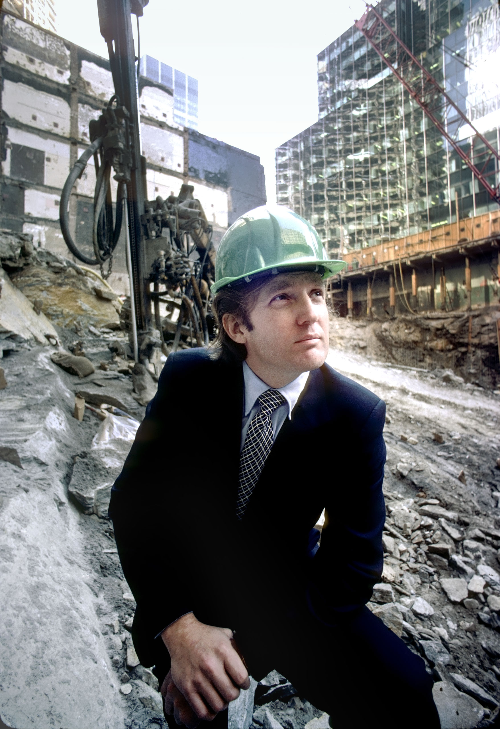 Trump at the future site of Trump Tower in 1980